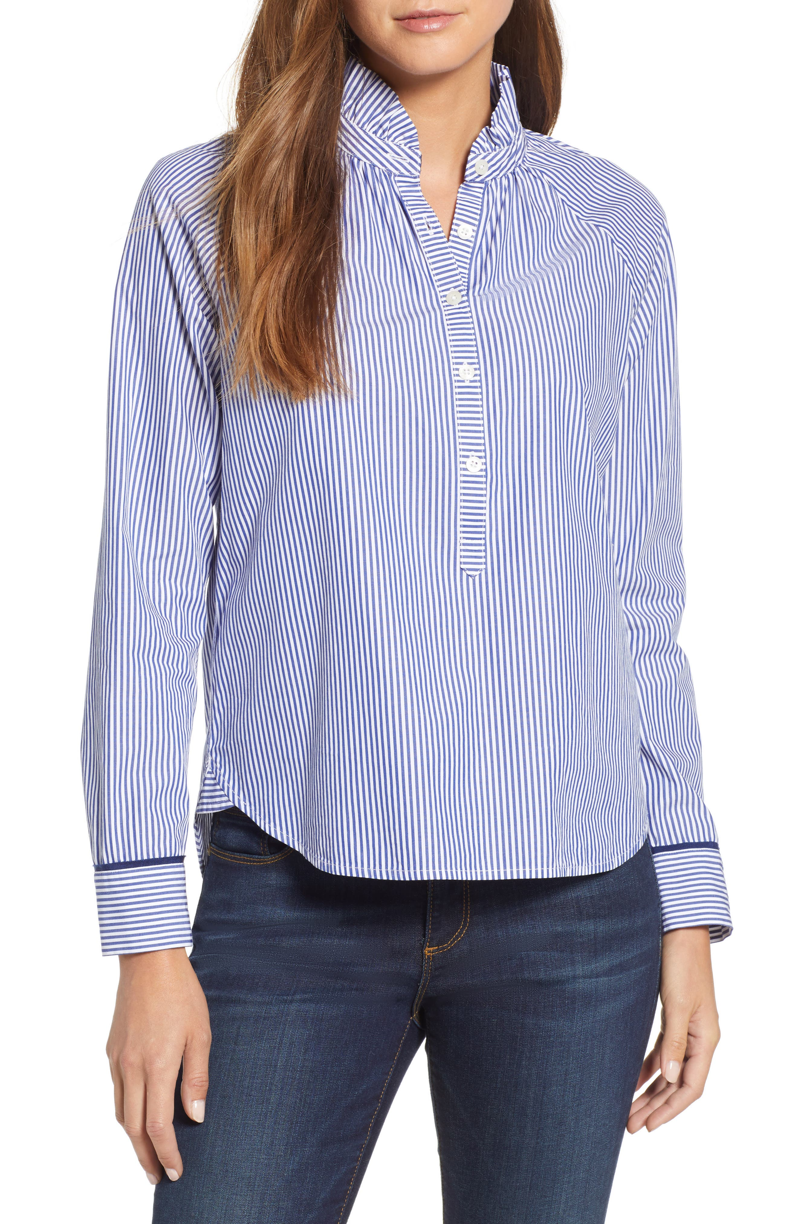 VINEYARD VINES,                             Stripe Ruffle Shirt,                             Main thumbnail 1, color,                             474