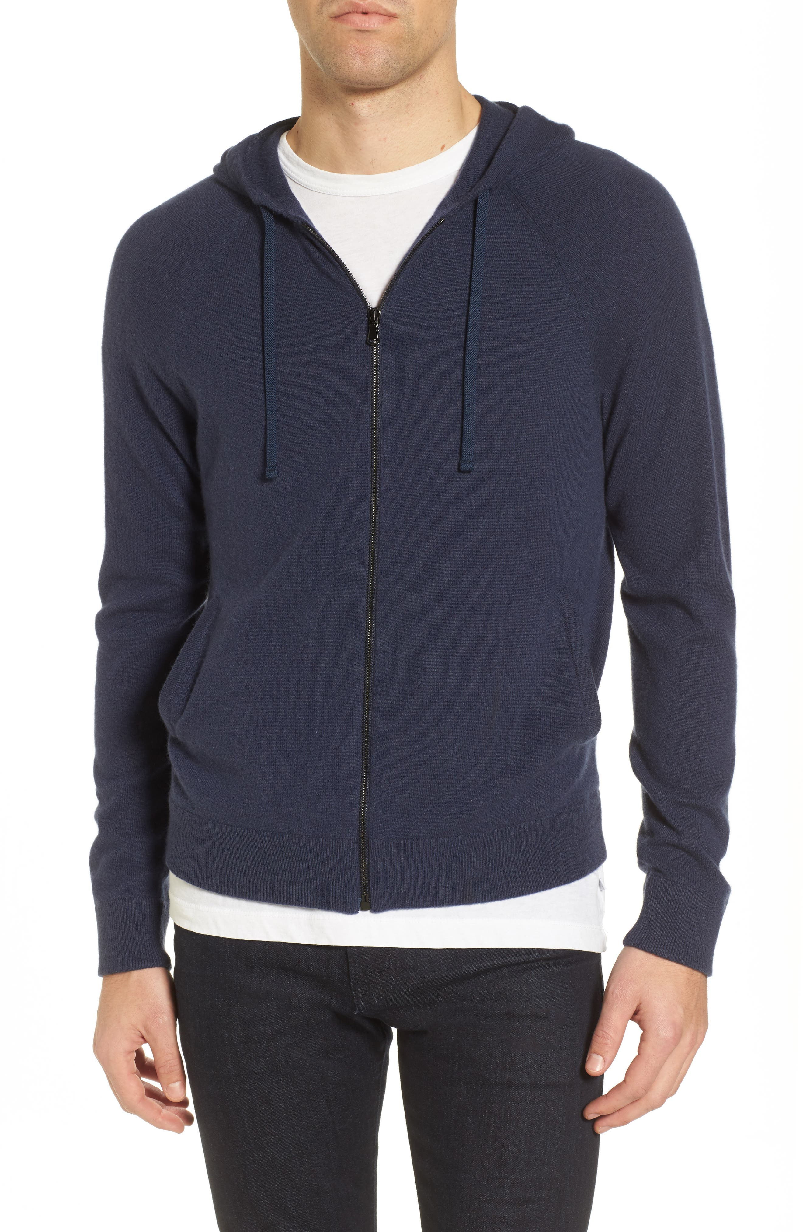 Classic Fit Cashmere Hooded Track Jacket,                             Main thumbnail 2, color,
