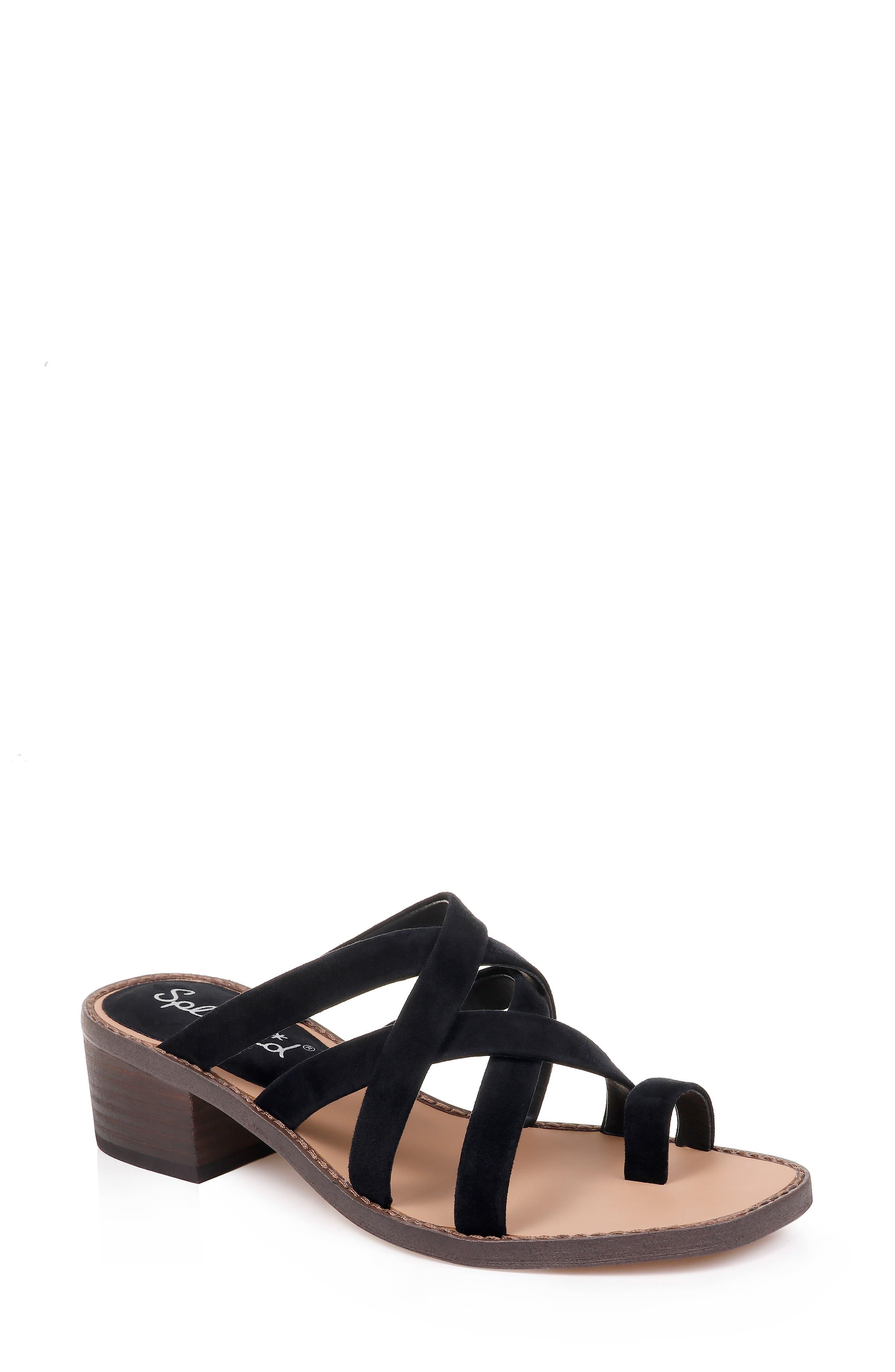 SPLENDID Stevie Slide Sandal, Main, color, BLACK SUEDE