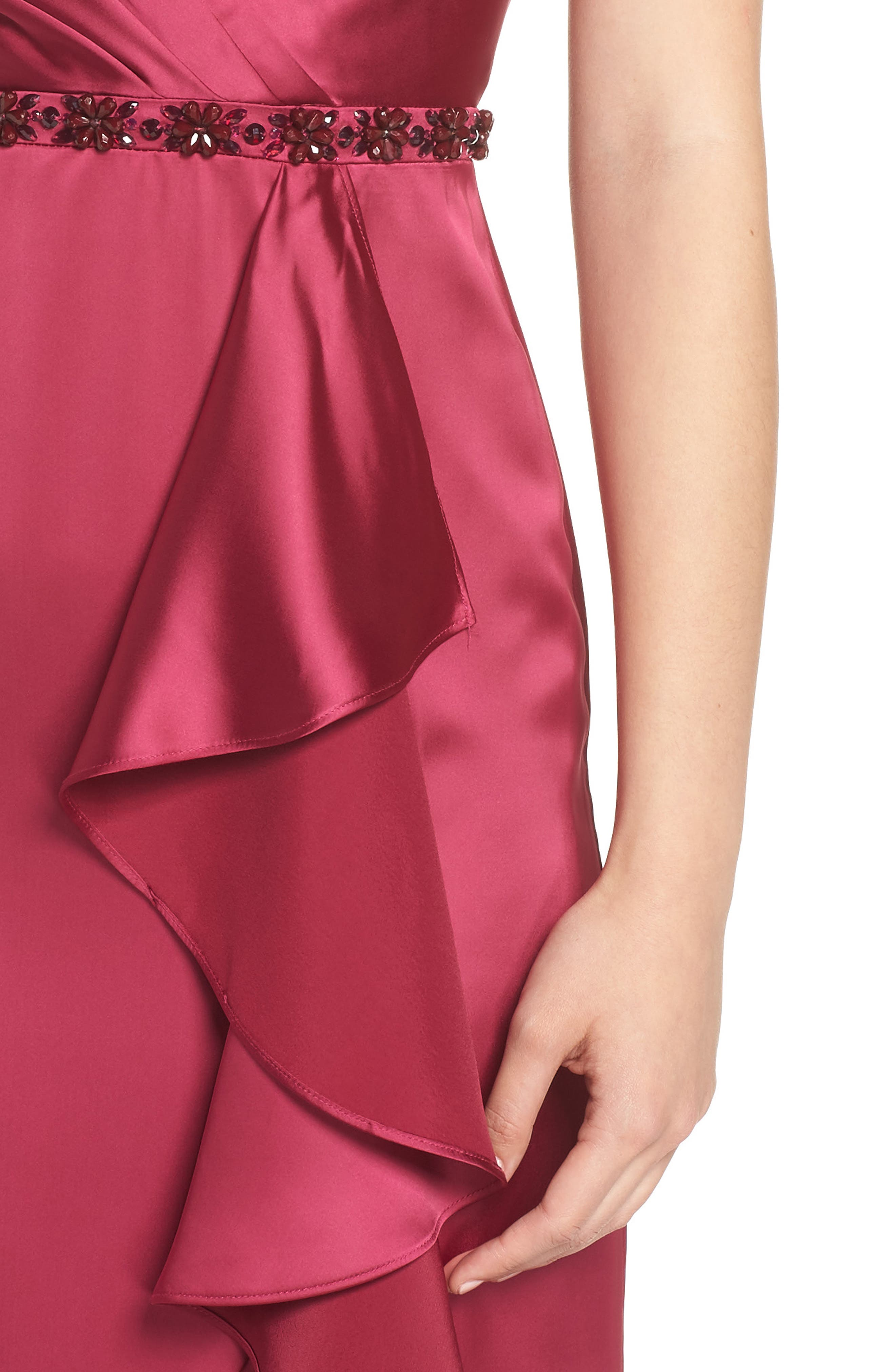 Satin High/Low Faux Wrap Gown,                             Alternate thumbnail 4, color,                             601