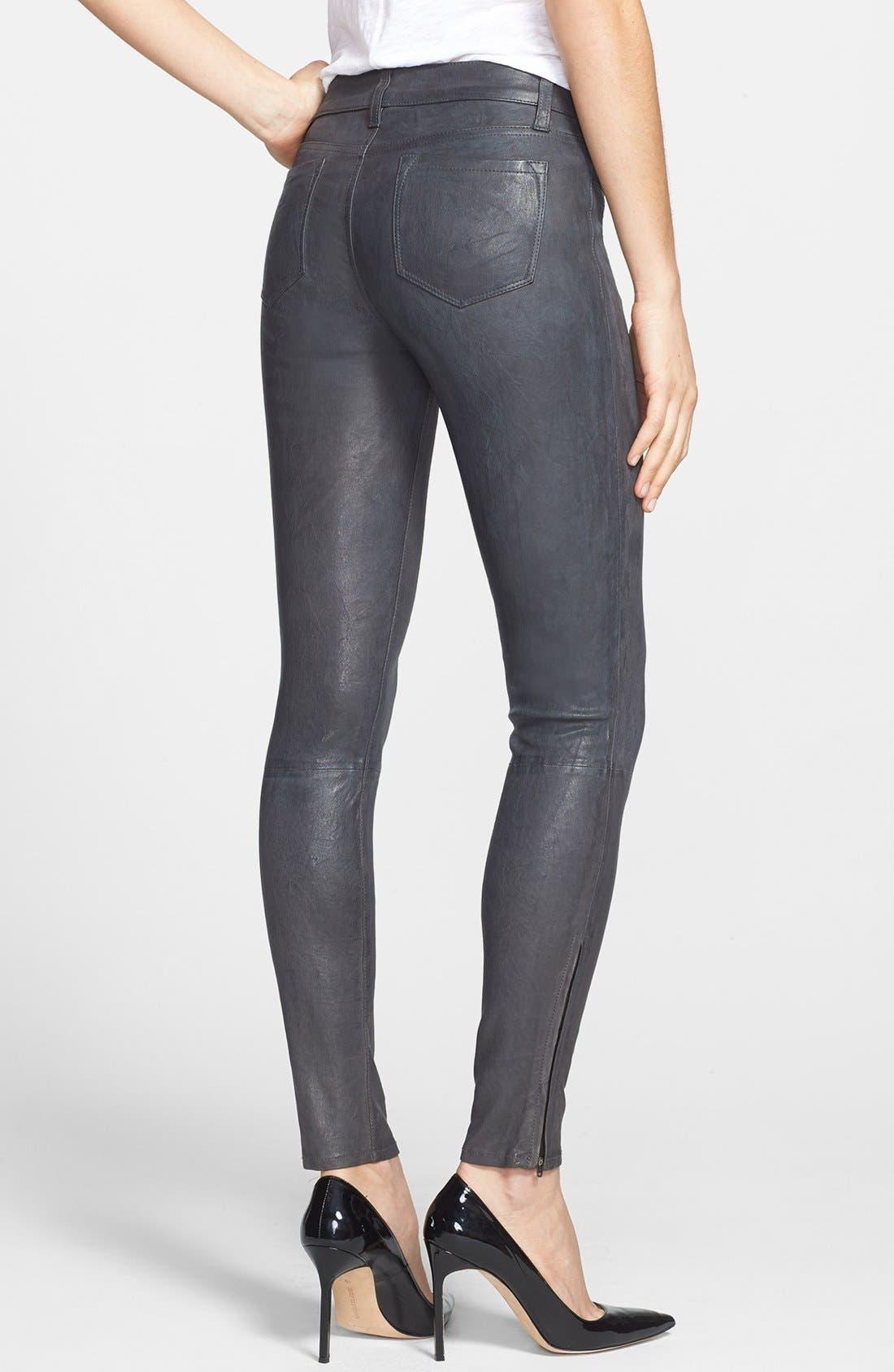 '8001' Lambskin Leather Pants,                             Alternate thumbnail 34, color,