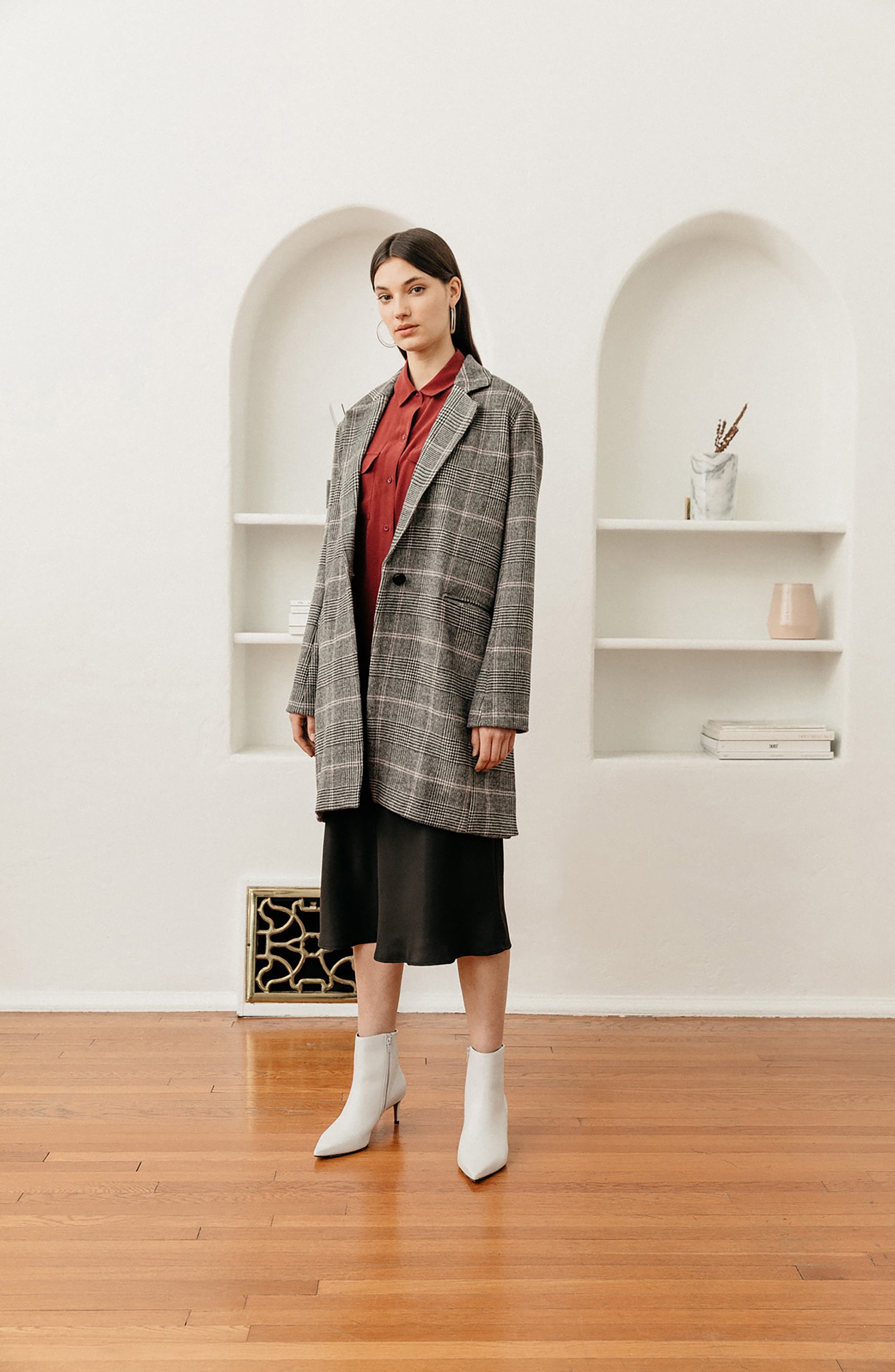 Anders Plaid Coat,                             Alternate thumbnail 9, color,                             CHARCOAL PINK PLAID