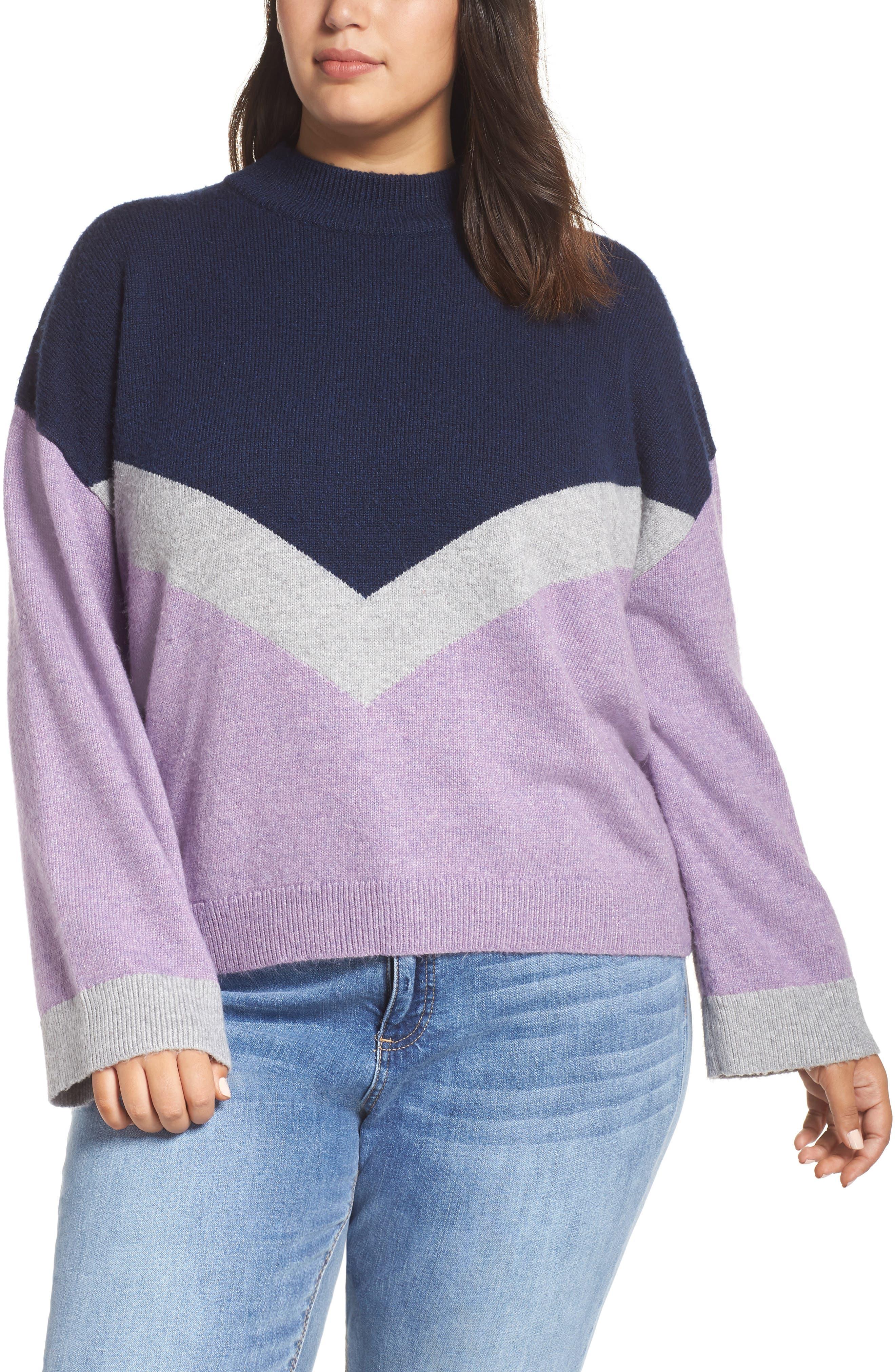 Chevron Stripe Sweater,                             Main thumbnail 1, color,                             PURPLE WAVE CHALET