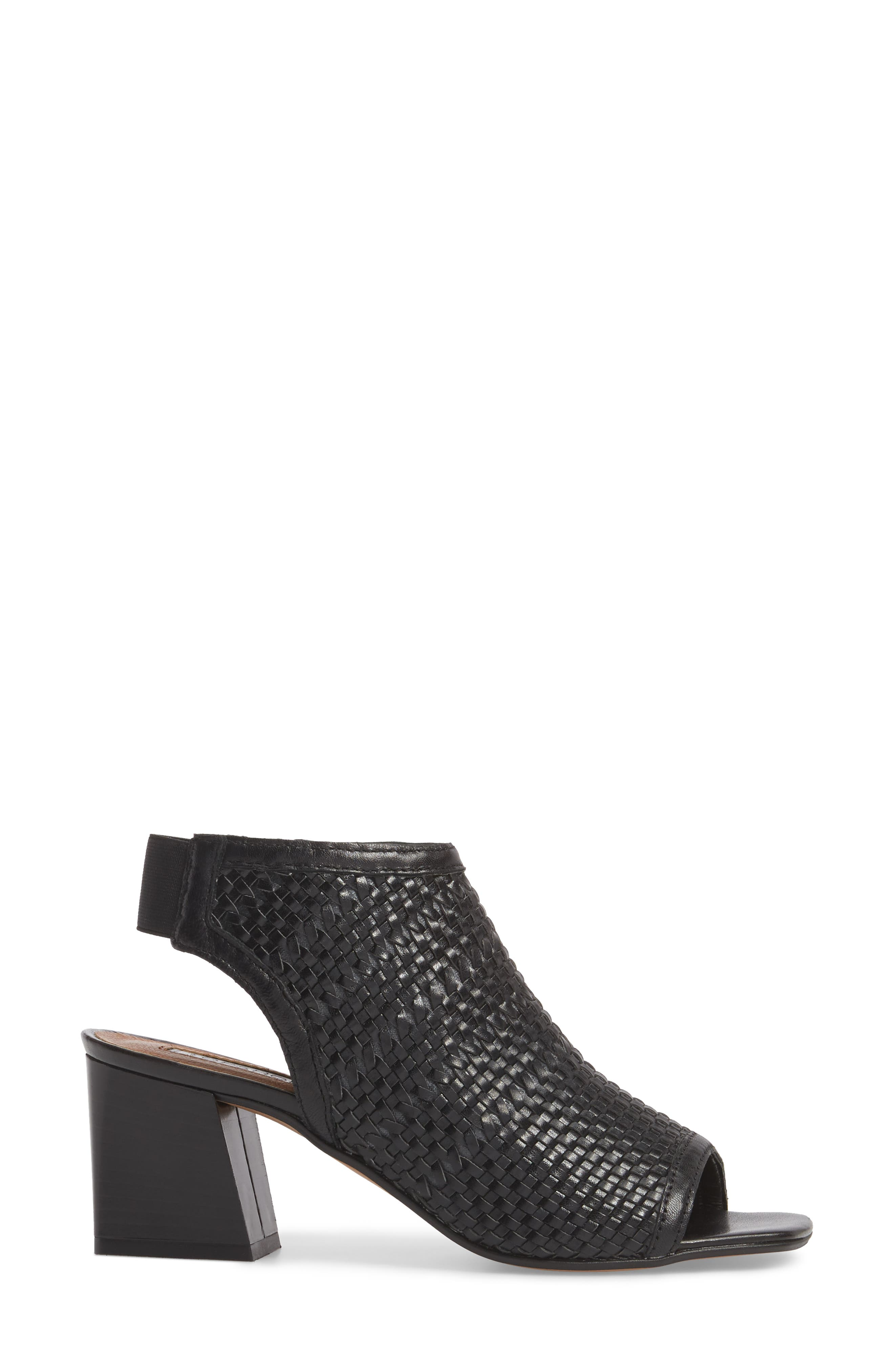 Nifty Woven Flared Heel Sandal,                             Alternate thumbnail 3, color,                             001