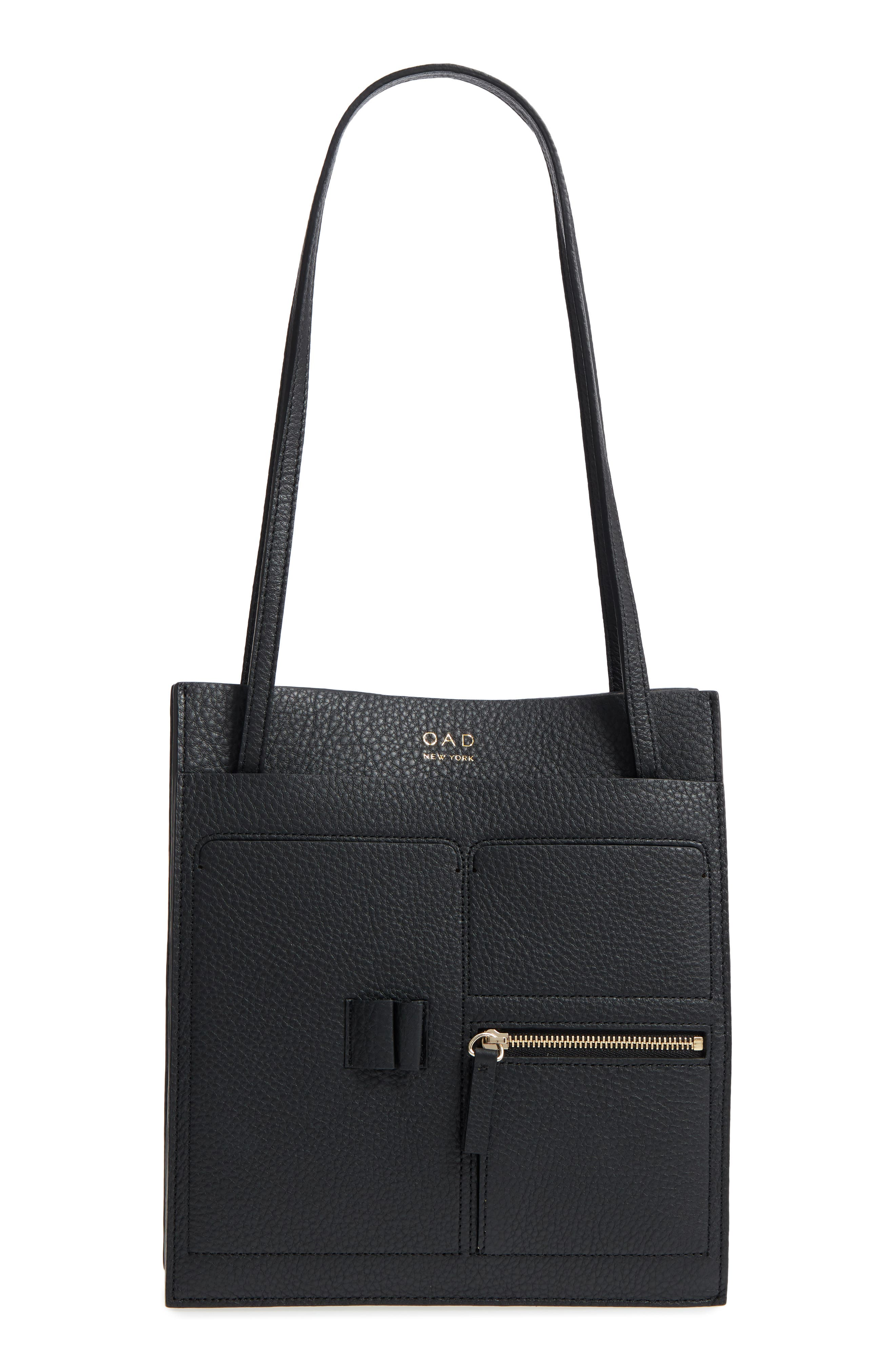 Kit Leather Convertible Shoulder Bag,                         Main,                         color, TRUE BLACK