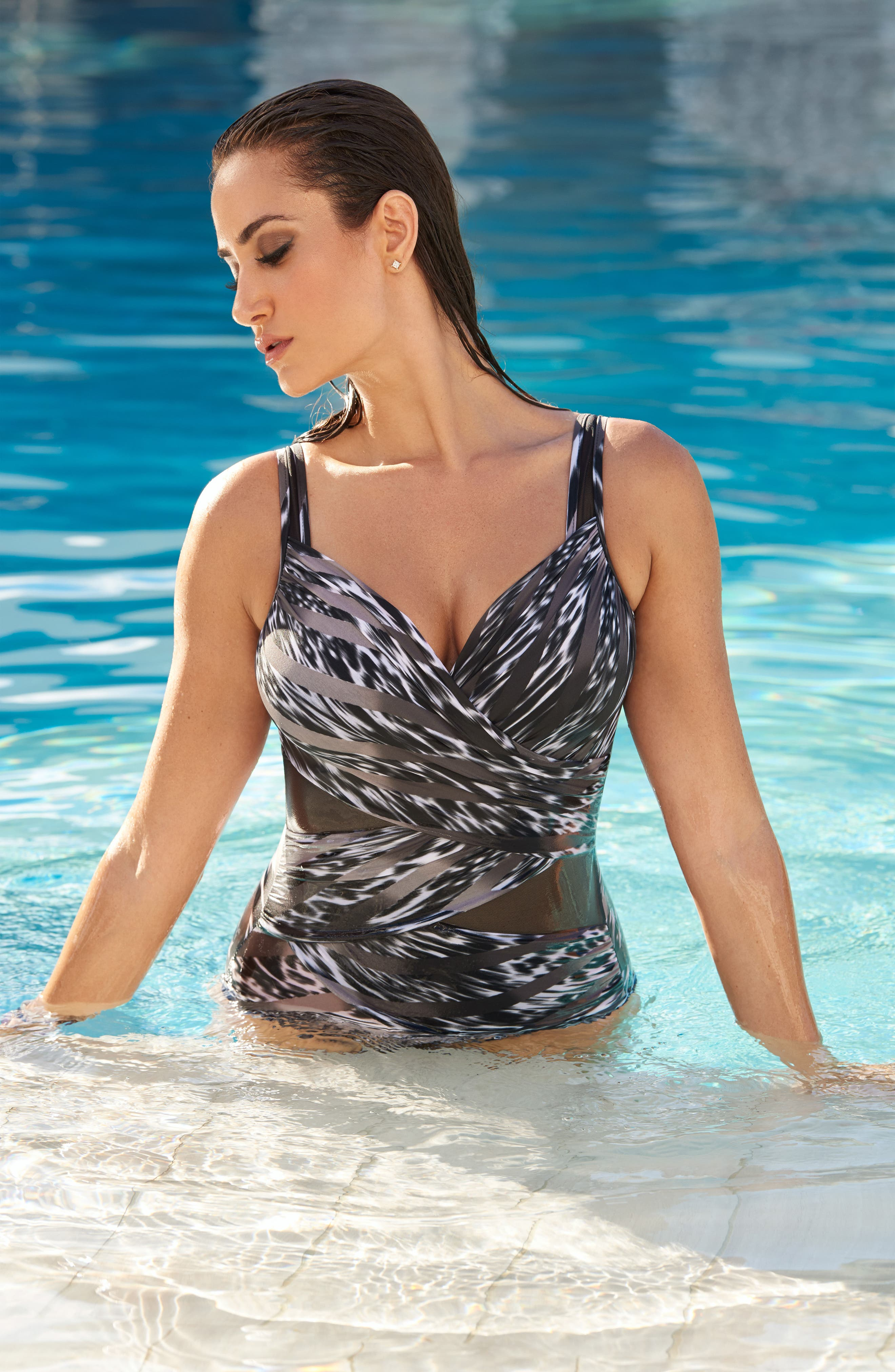 Feline Fixation Madero One-Piece Swimsuit,                             Alternate thumbnail 3, color,                             BLACK/ WHITE