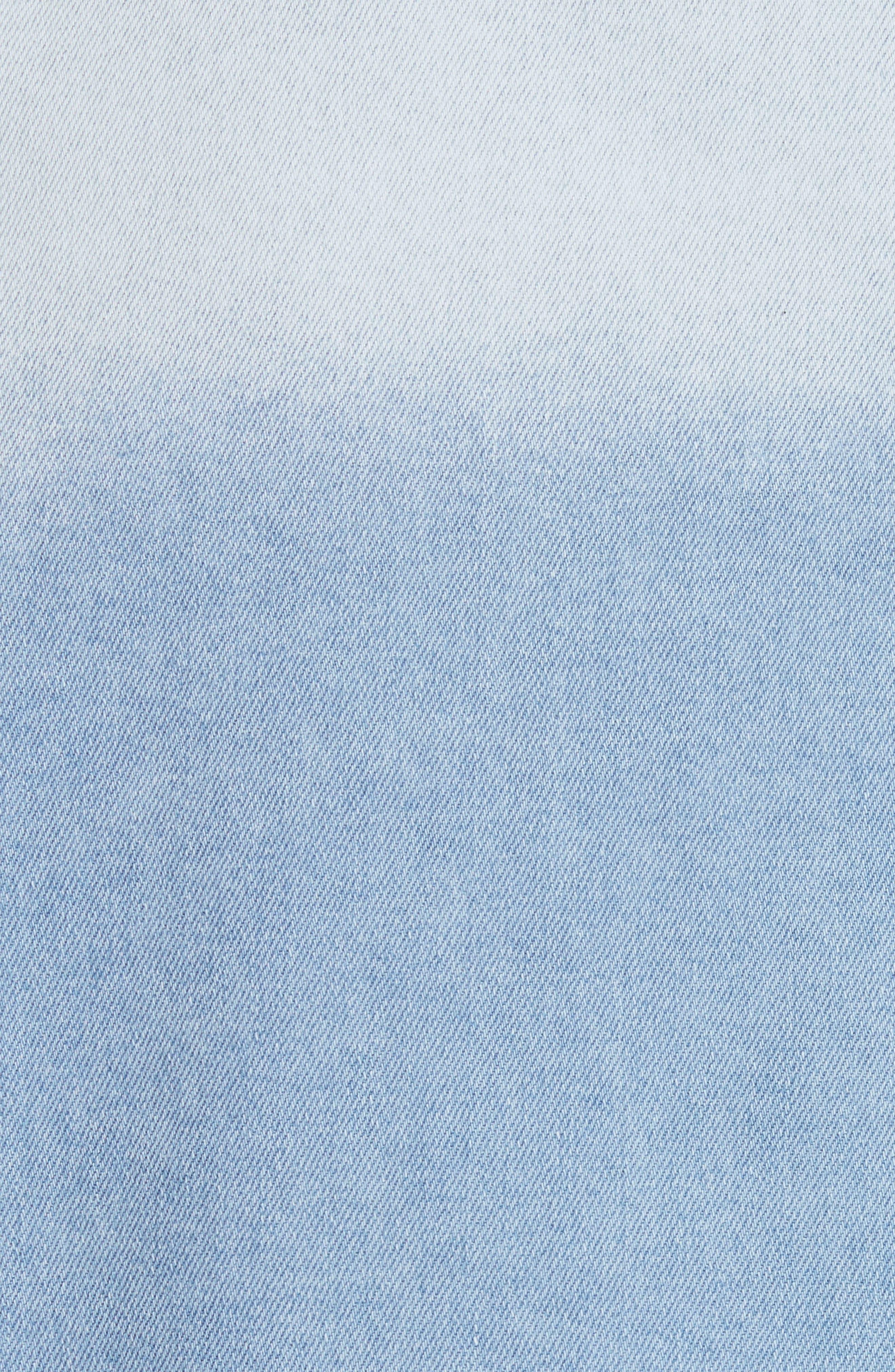 Oversize Distressed Denim Shirt,                             Alternate thumbnail 5, color,                             WASHED DENIM