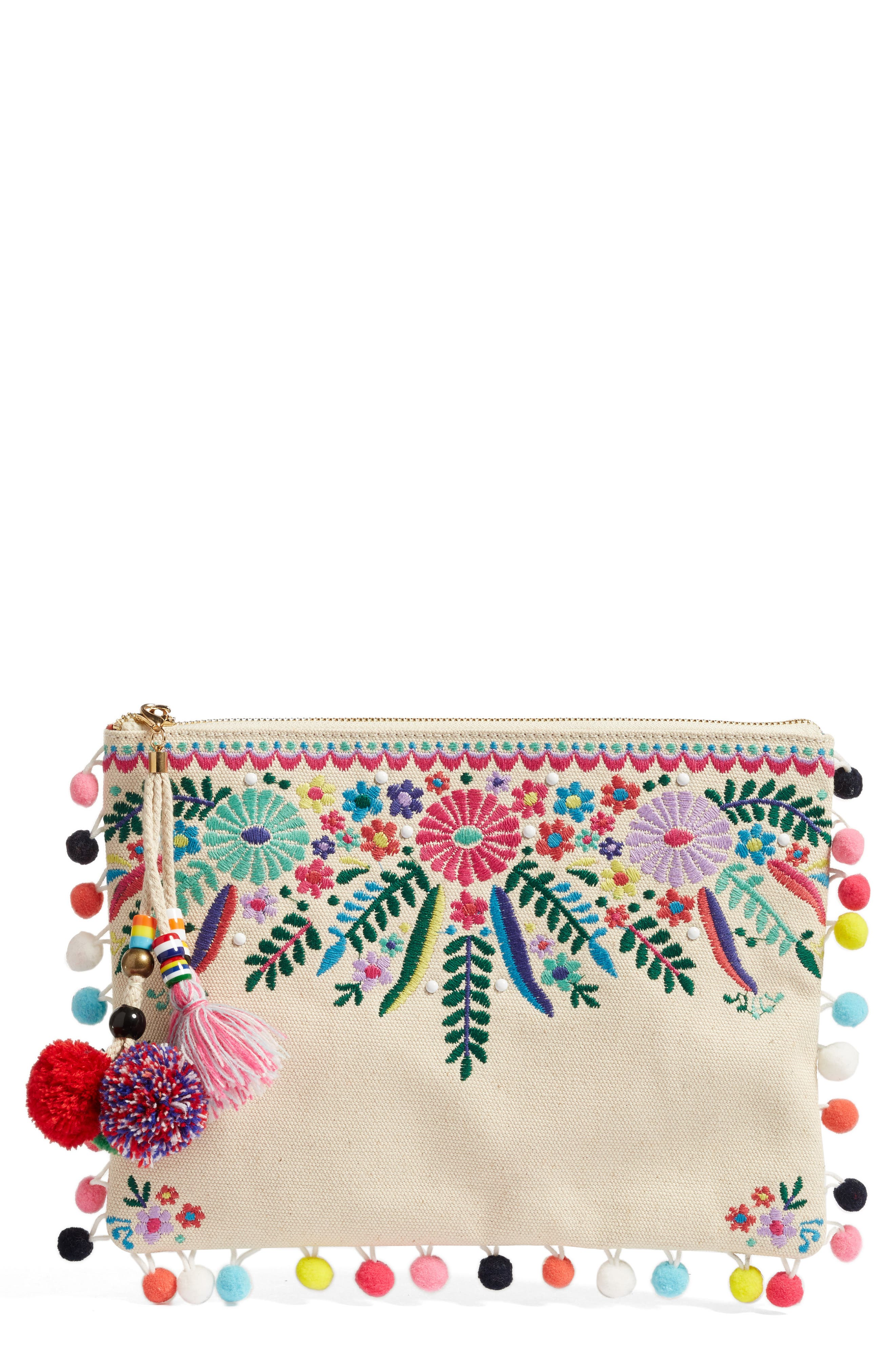 Embroidered Clutch,                             Main thumbnail 1, color,                             250