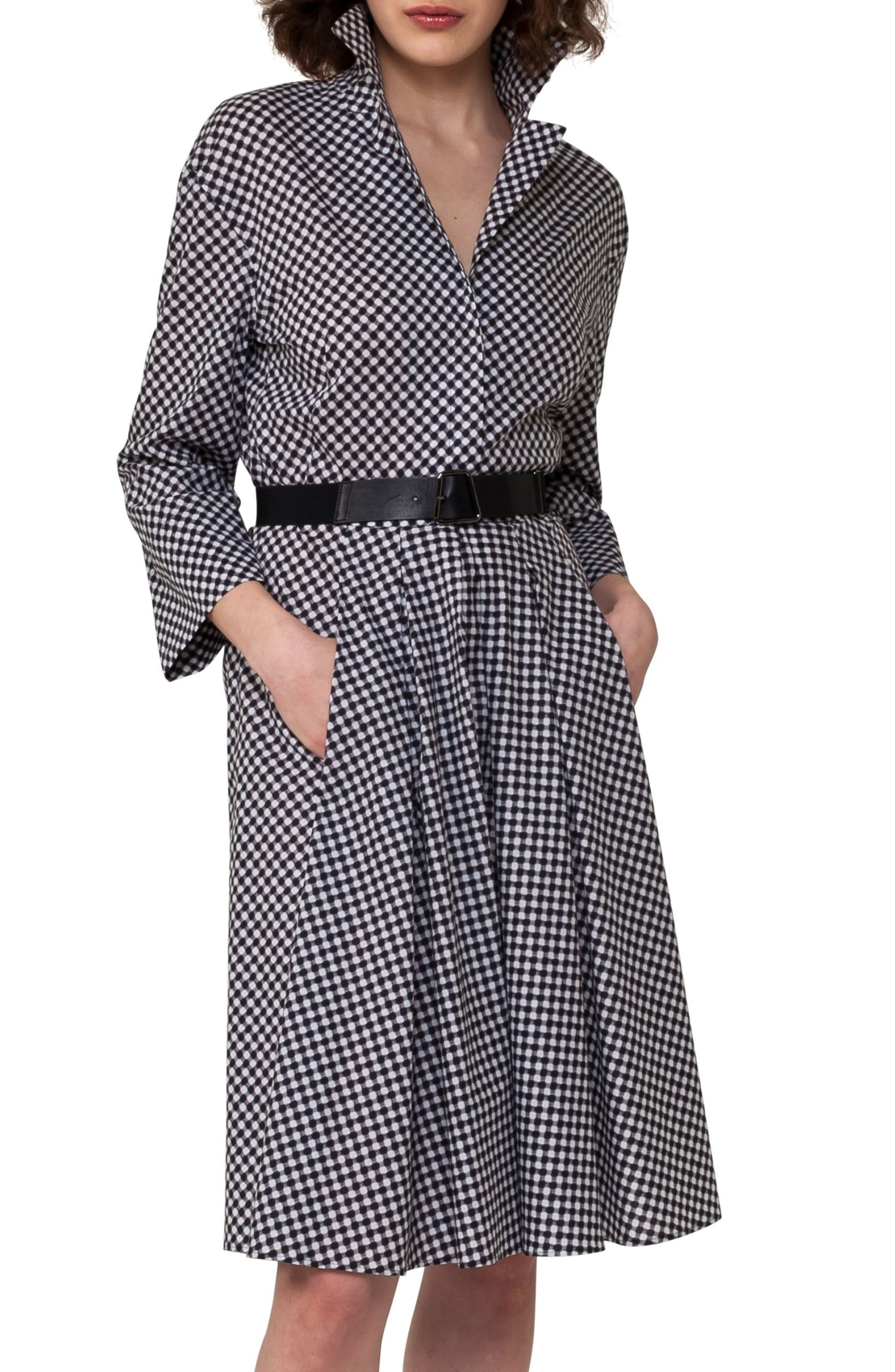 Belted Check Cotton Dress,                             Alternate thumbnail 3, color,                             019
