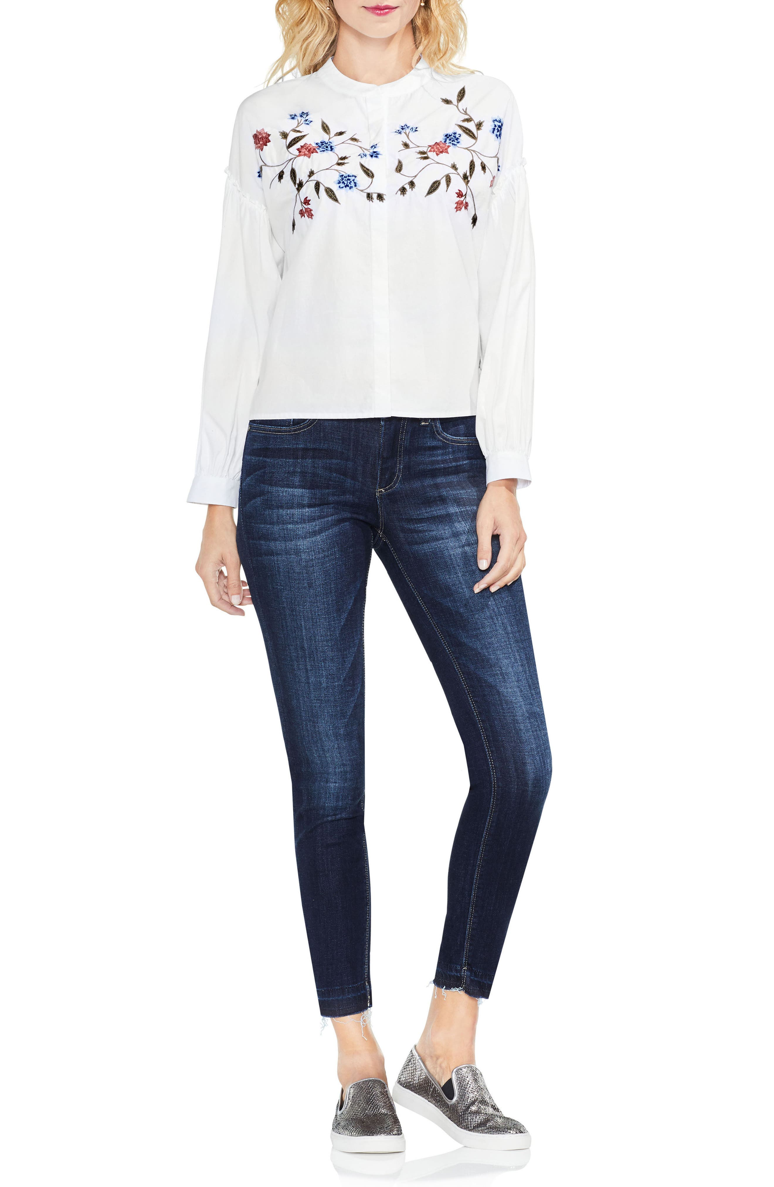 Embroidered Poplin Blouse,                             Alternate thumbnail 5, color,                             145