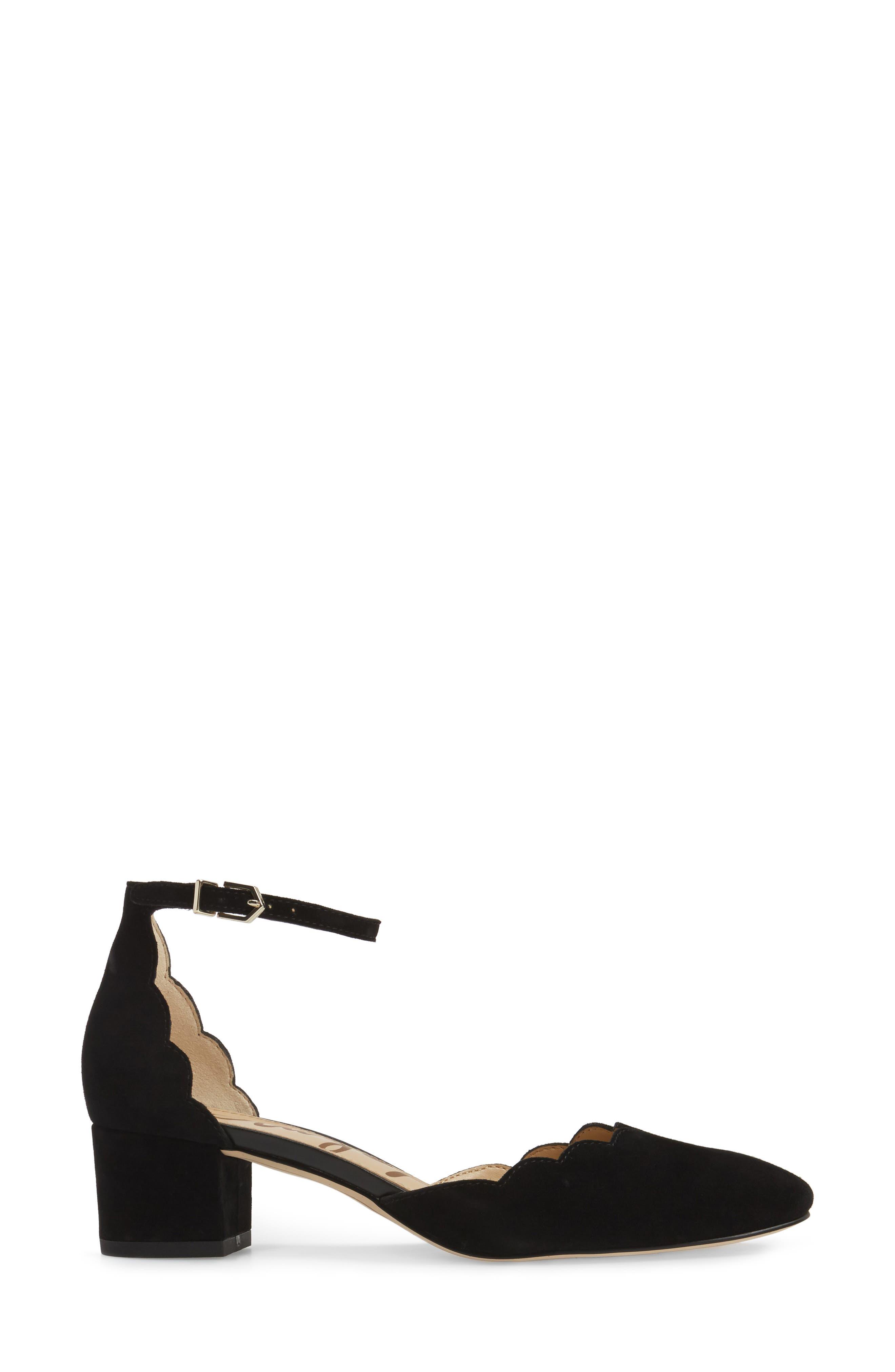 Lara Ankle Strap Pump,                             Alternate thumbnail 3, color,                             001