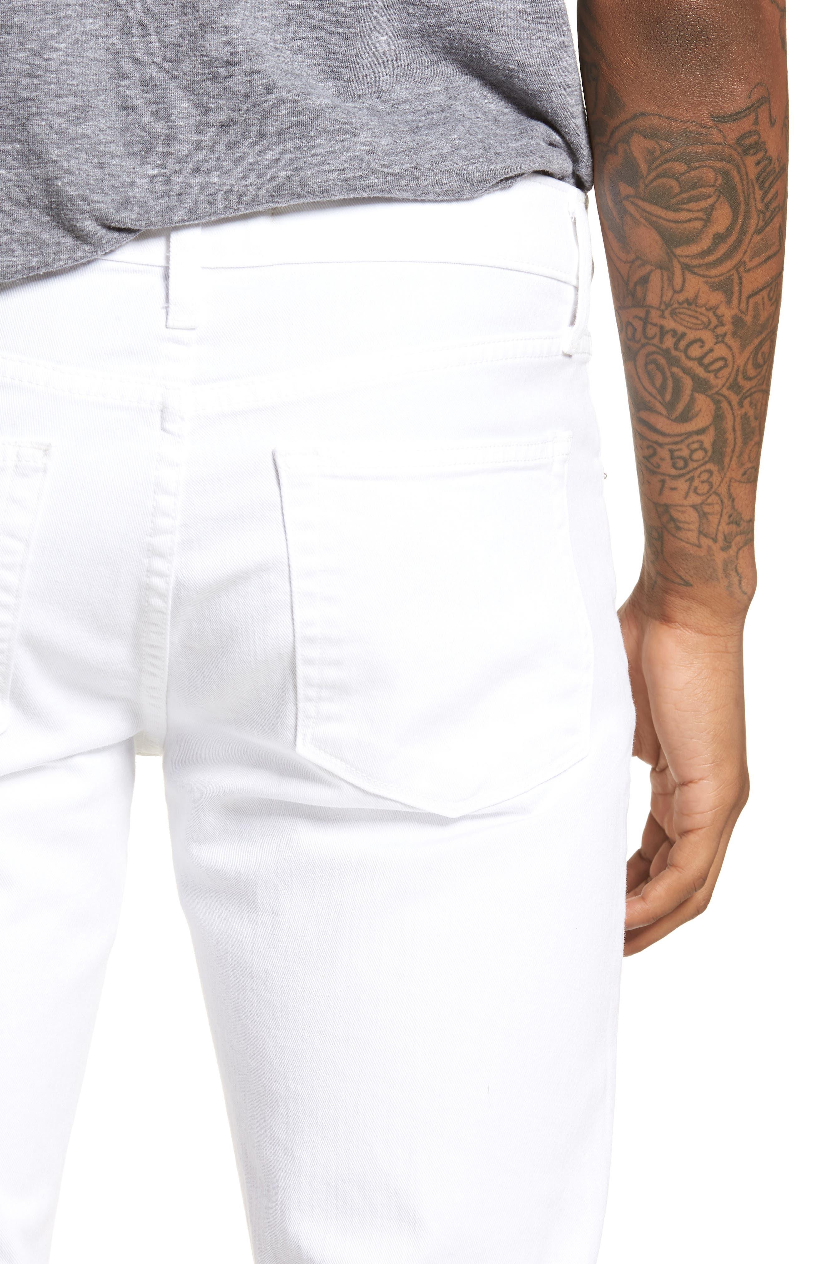Mick Distressed Skinny Fit Jeans,                             Alternate thumbnail 4, color,                             WHITMAN OAK