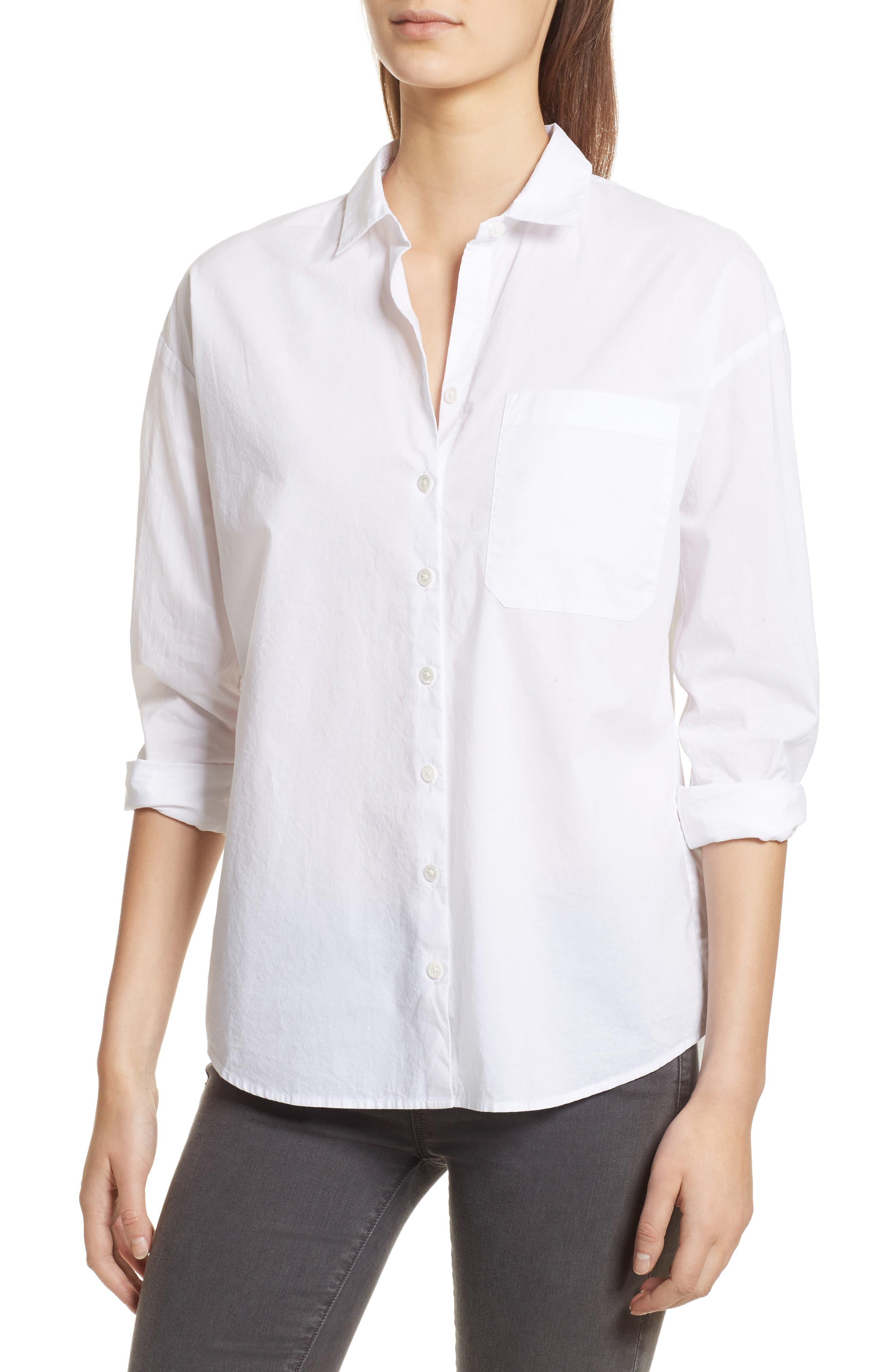 Cotton Poplin Boyfriend Shirt,                         Main,                         color, 100