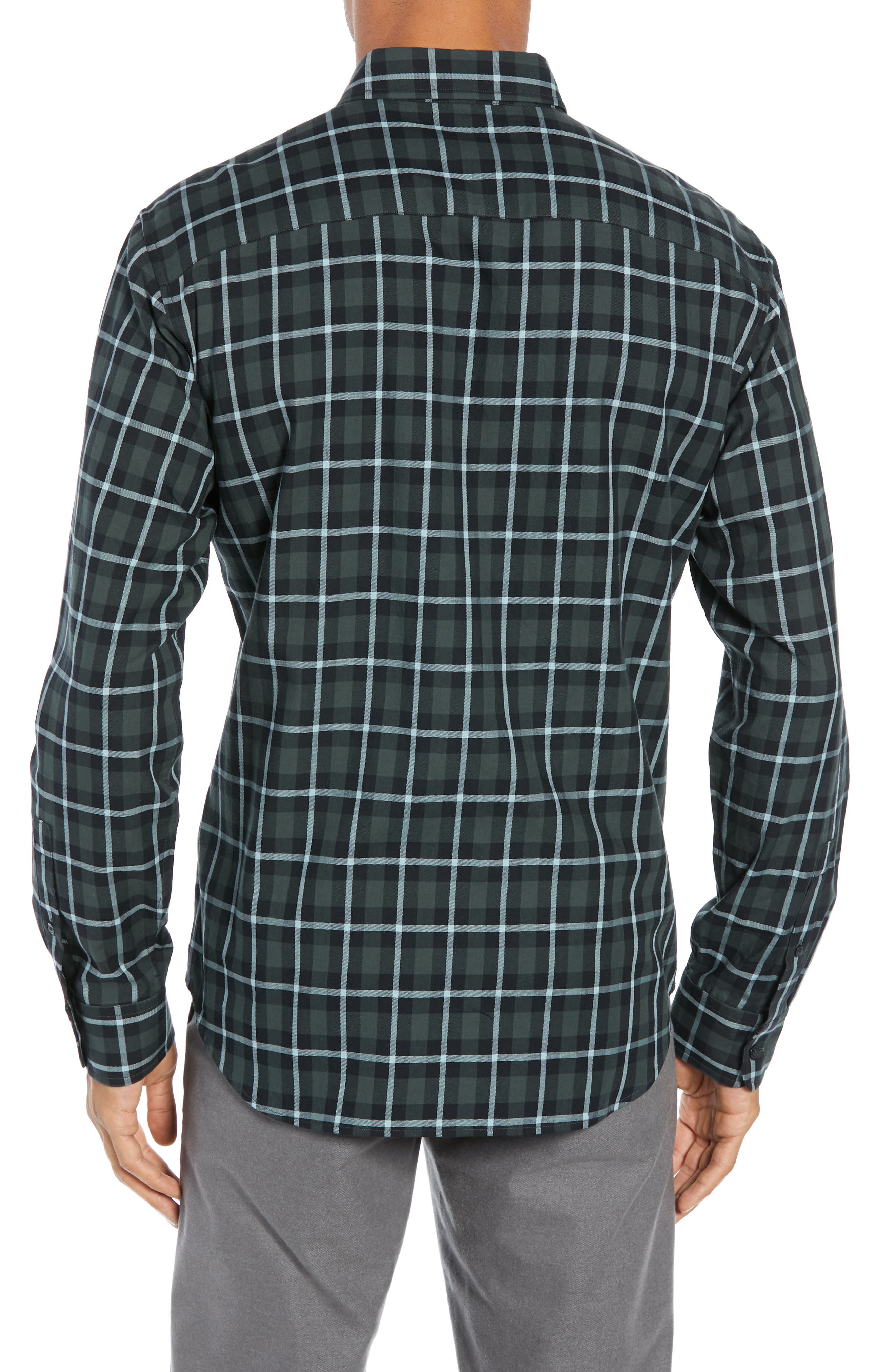 Trim Fit Plaid Sport Shirt,                             Alternate thumbnail 3, color,                             NAVY MULTI