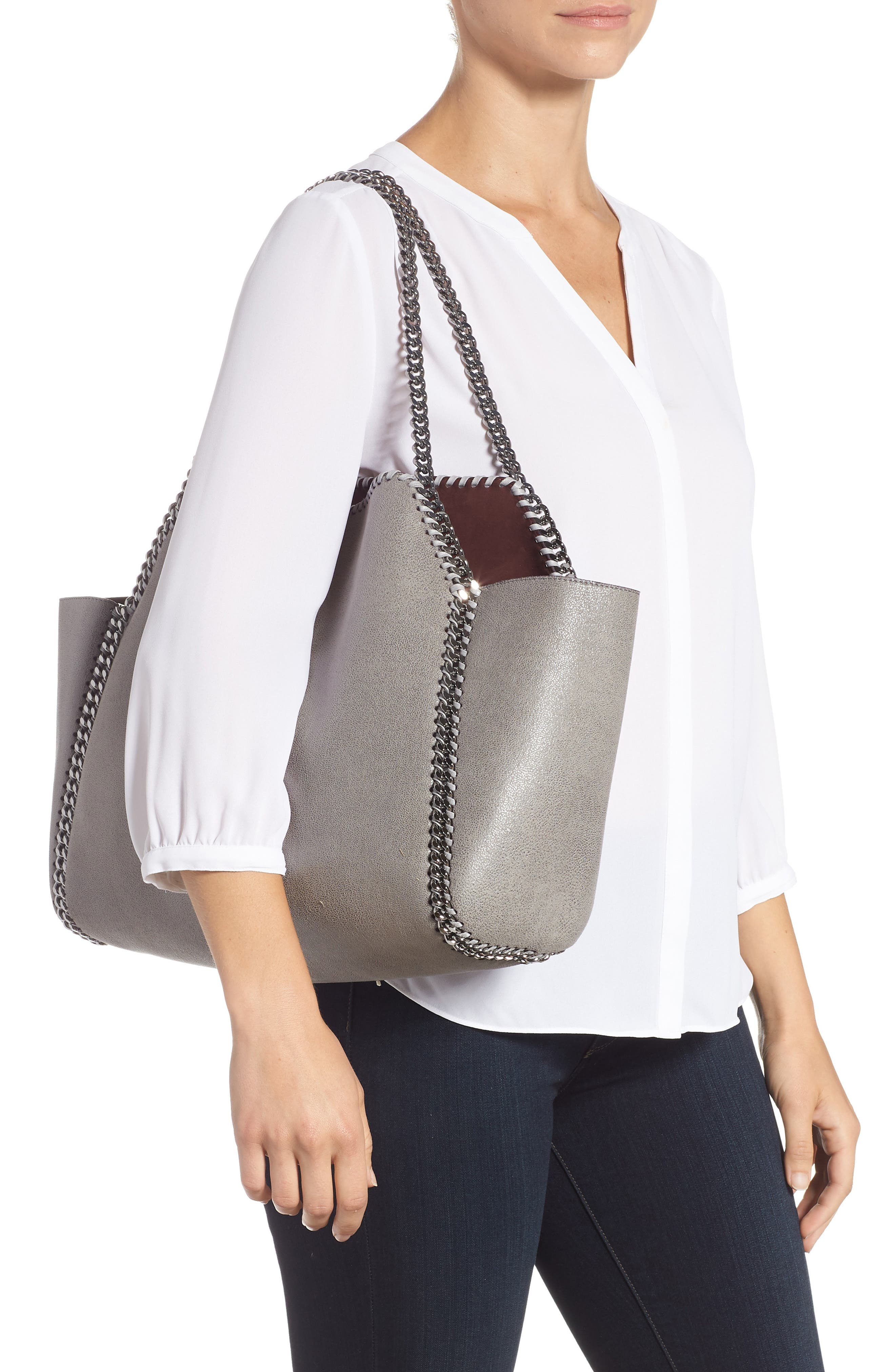 Small Oleo Deer Reversible Faux Leather Tote,                             Alternate thumbnail 2, color,                             LIGHT GREY