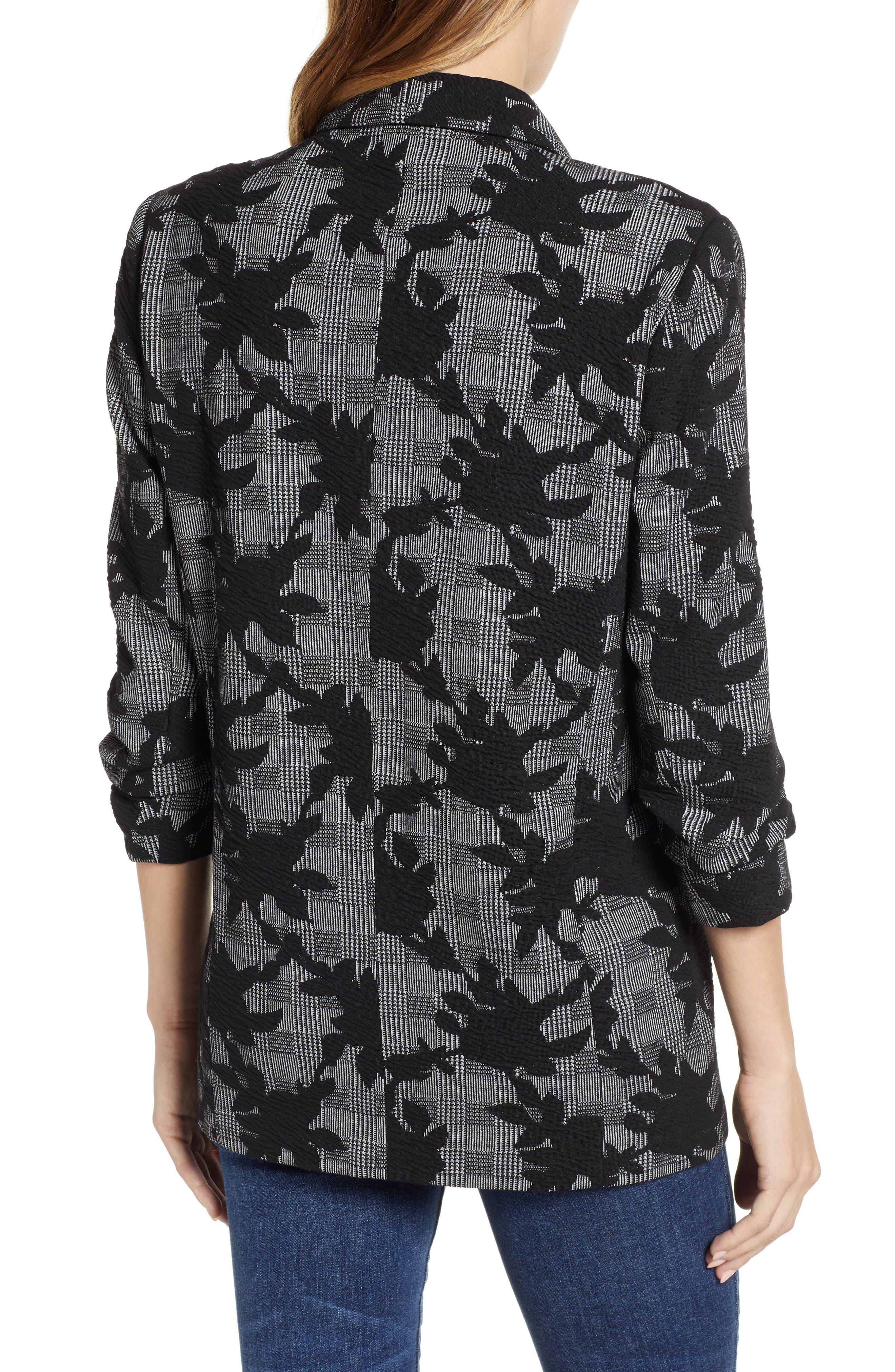 Floral Plaid Jacket,                             Alternate thumbnail 2, color,                             BLACK/ GREY