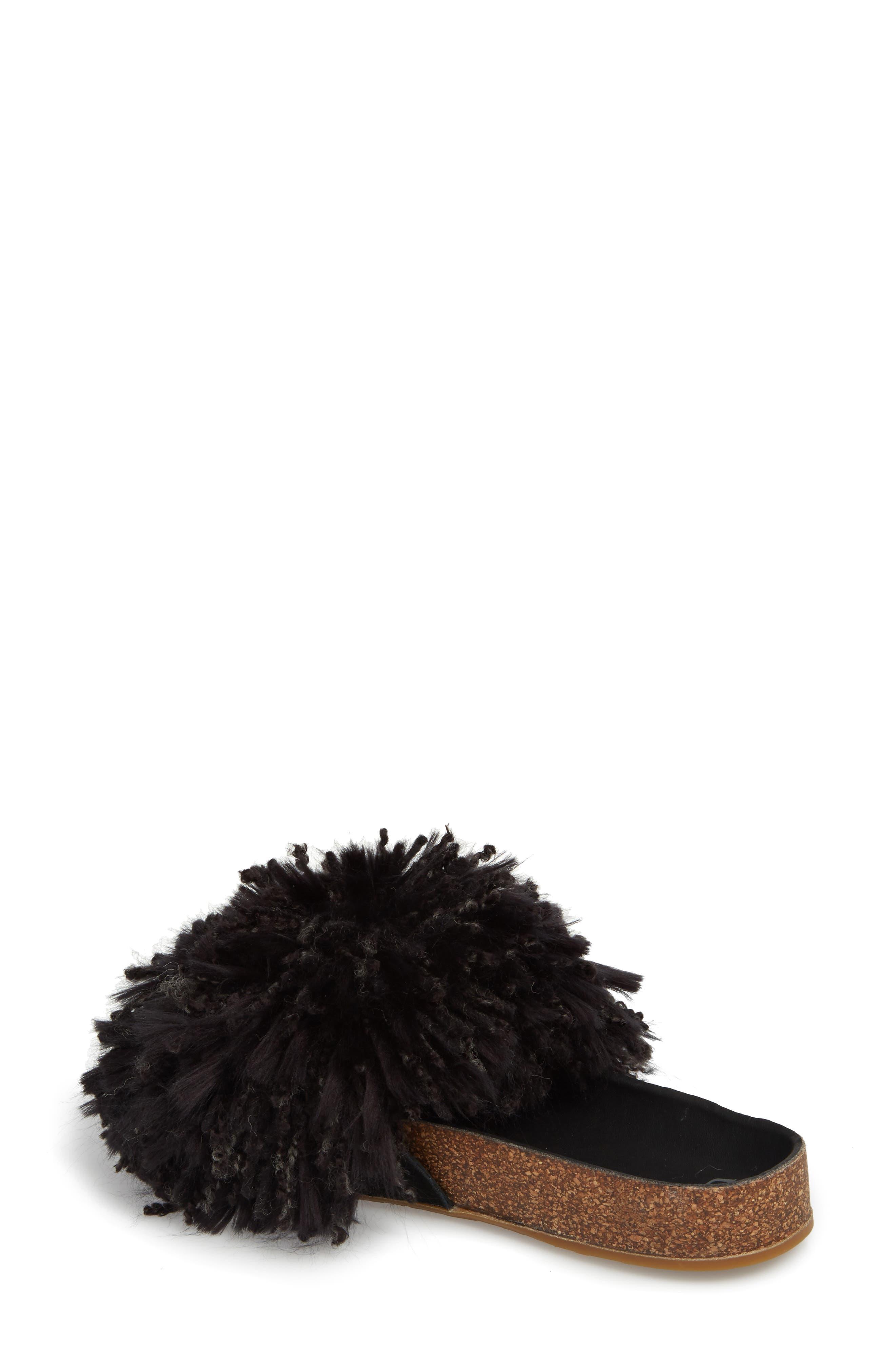 Cindi Yarn Pom Sandal,                             Alternate thumbnail 2, color,                             BLACK