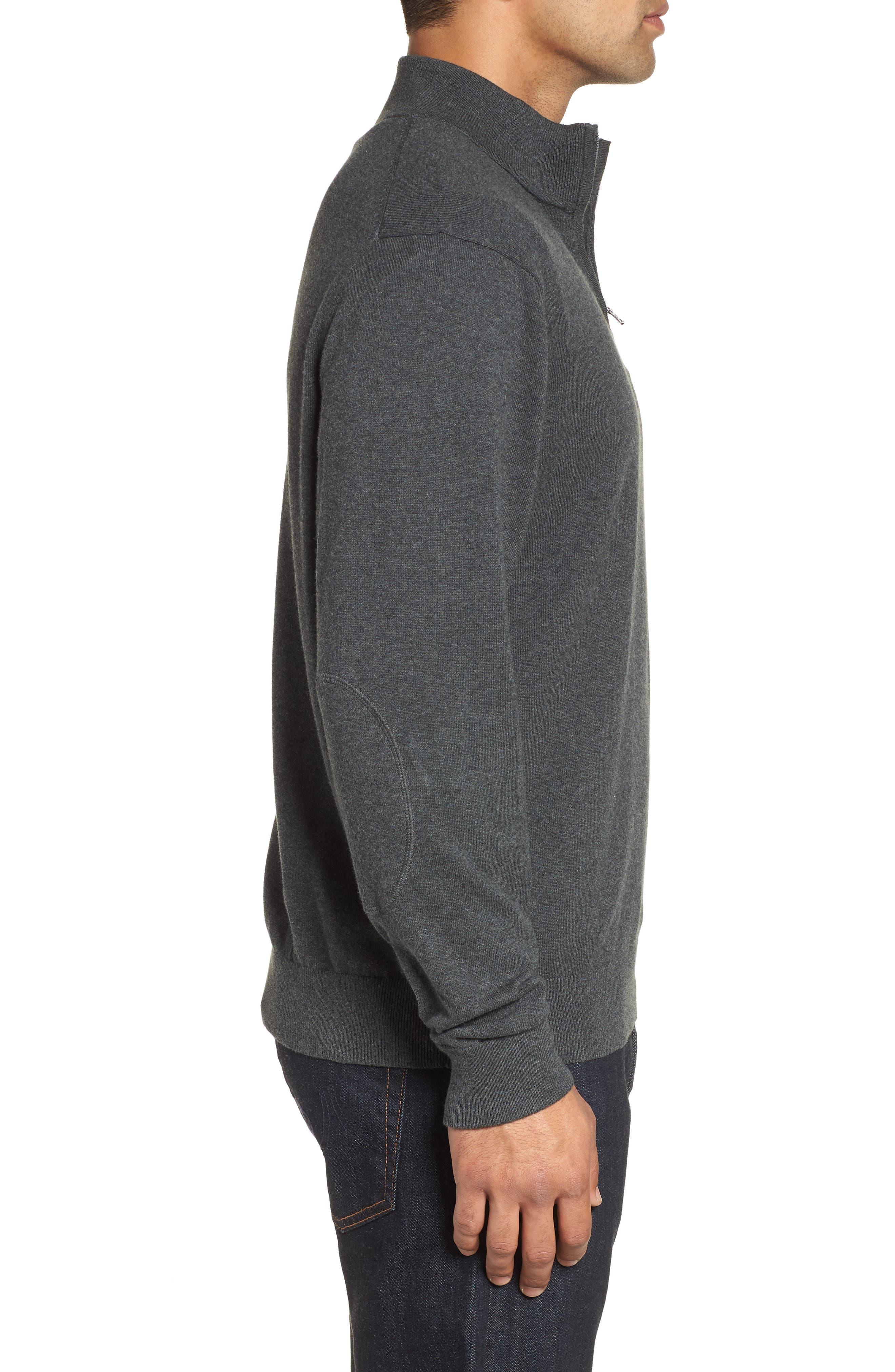 Los Angeles Rams - Lakemont Regular Fit Quarter Zip Sweater,                             Alternate thumbnail 3, color,                             CHARCOAL HEATHER