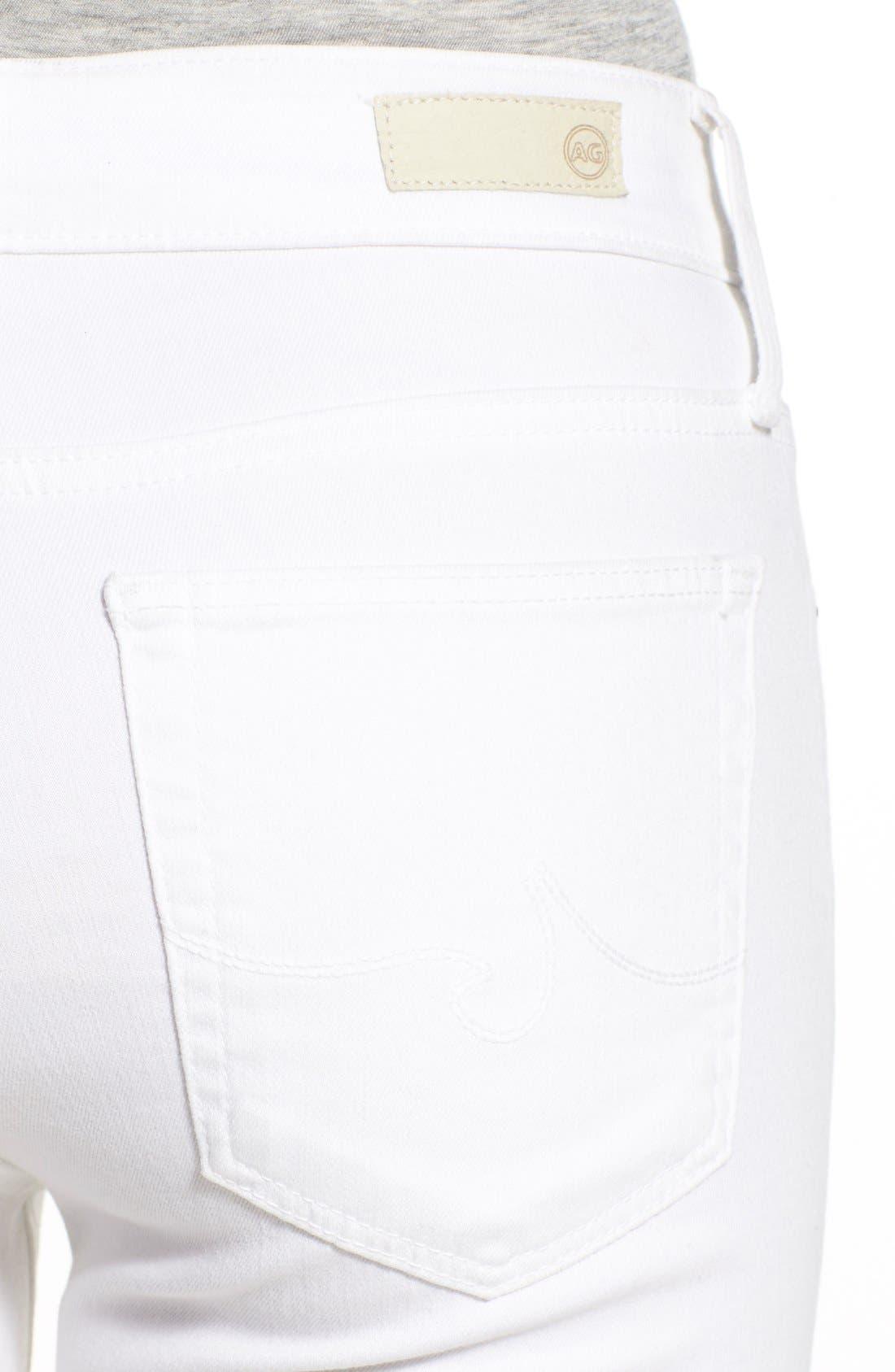 Farrah High Waist Skinny Jeans,                             Alternate thumbnail 4, color,                             WHITE