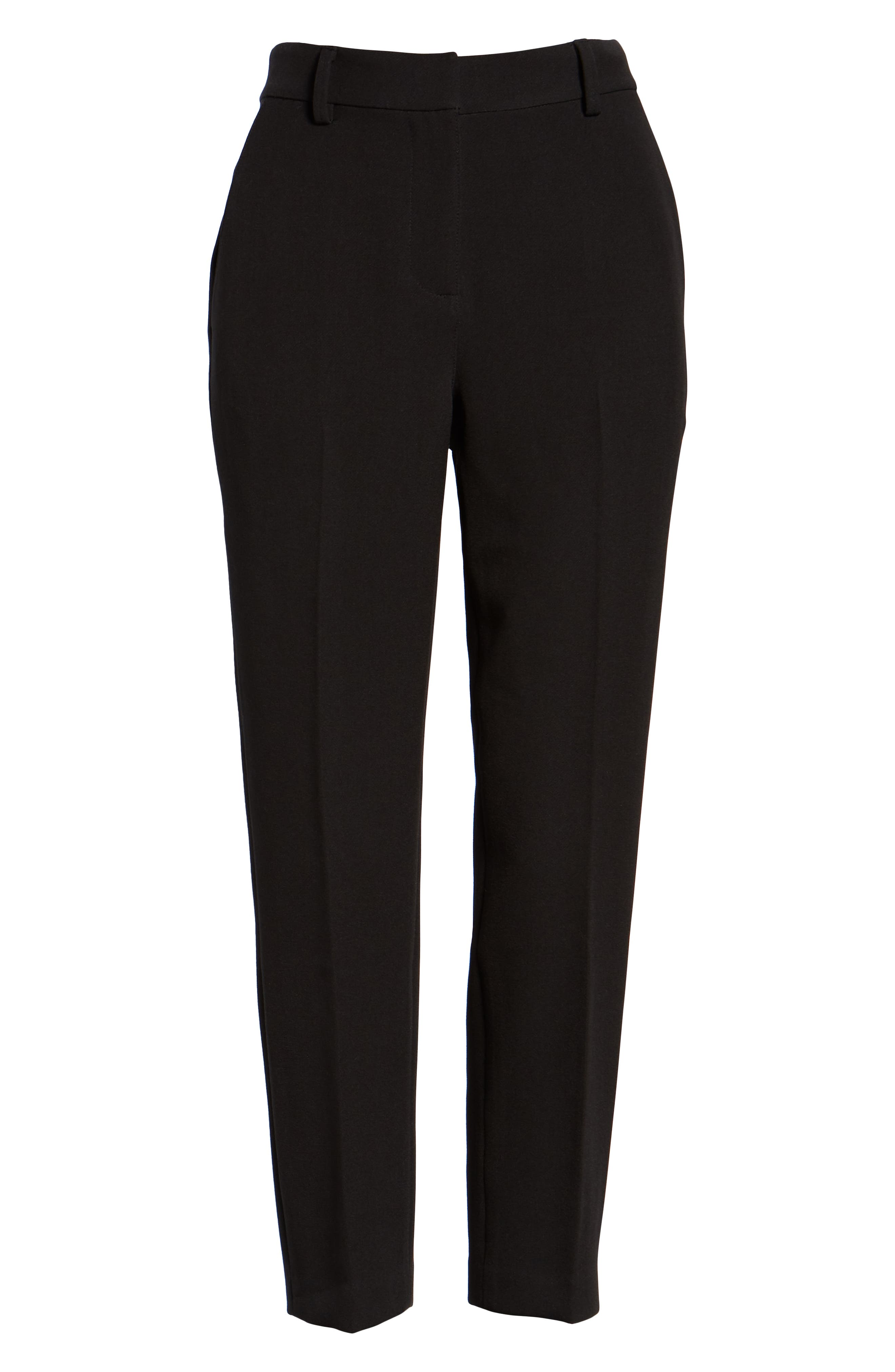SOMETHING NAVY,                             Flat Front Trousers,                             Alternate thumbnail 7, color,                             BLACK