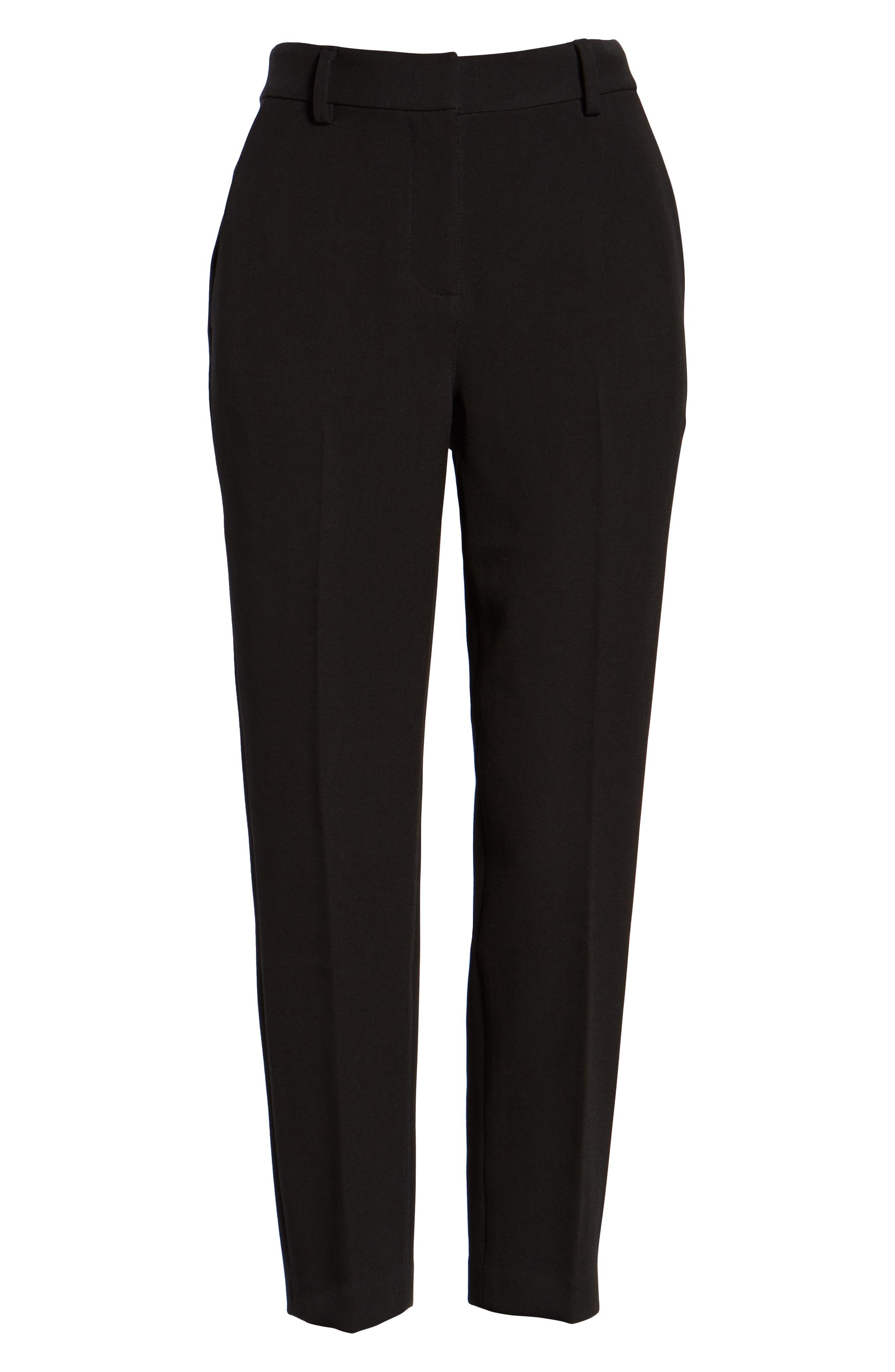 Flat Front Trousers,                             Alternate thumbnail 7, color,                             BLACK