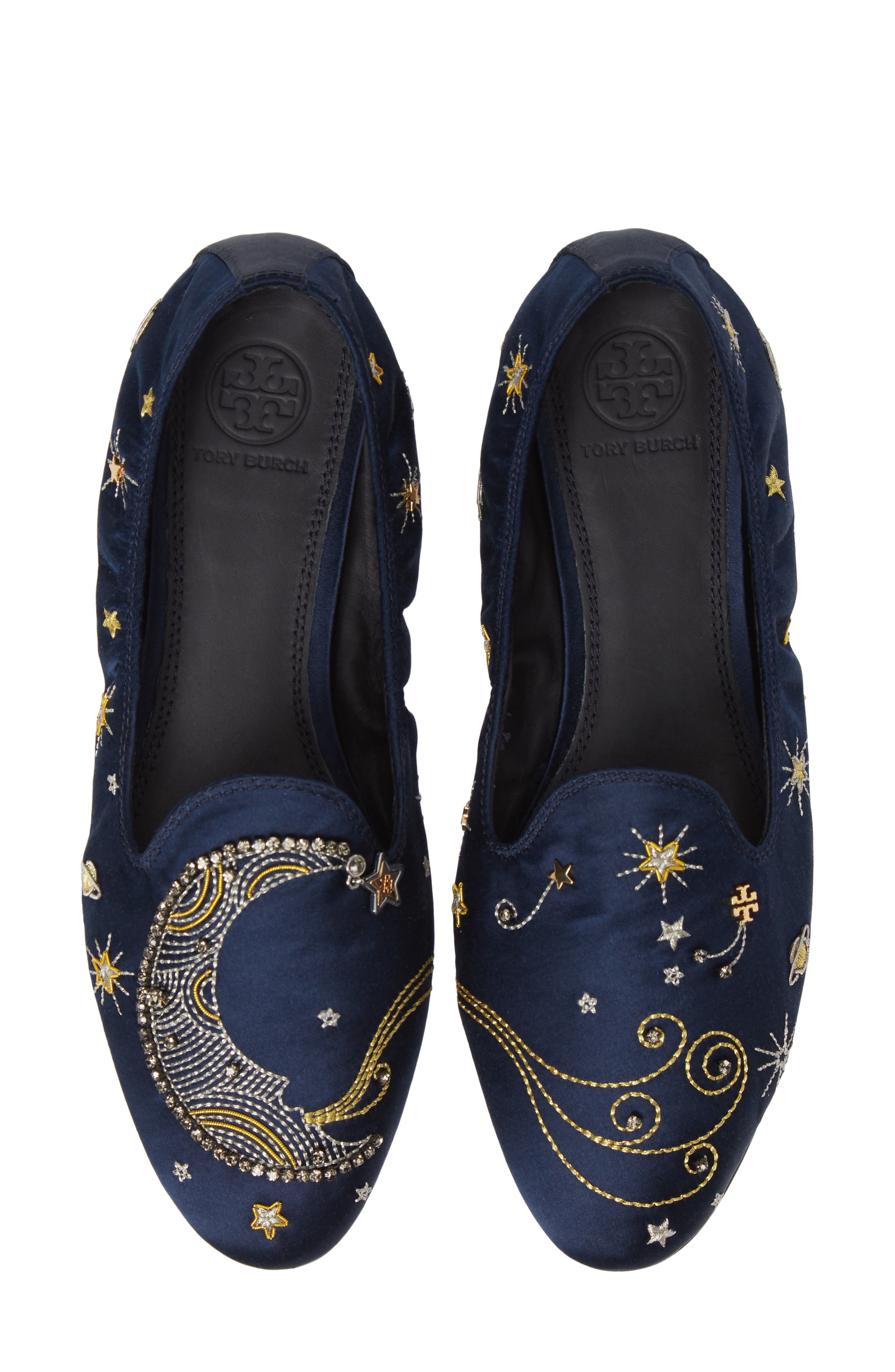 Olympia Embroidered Smoking Loafers in Perfect Navy