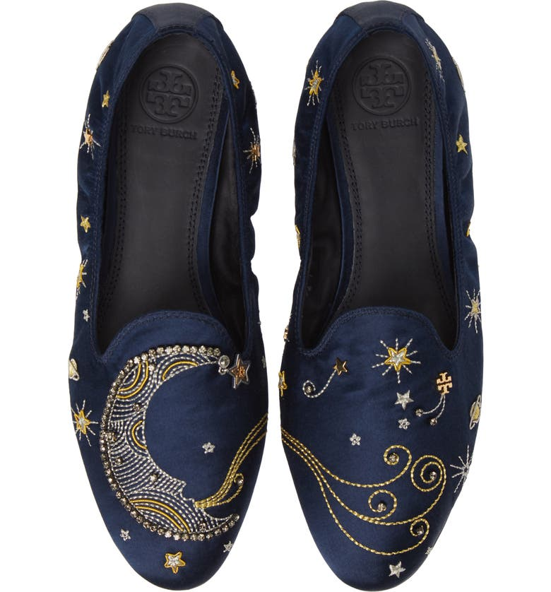 863b59ee691 Tory Burch Olympia Embroidered Smoking Loafers In Perfect Navy ...