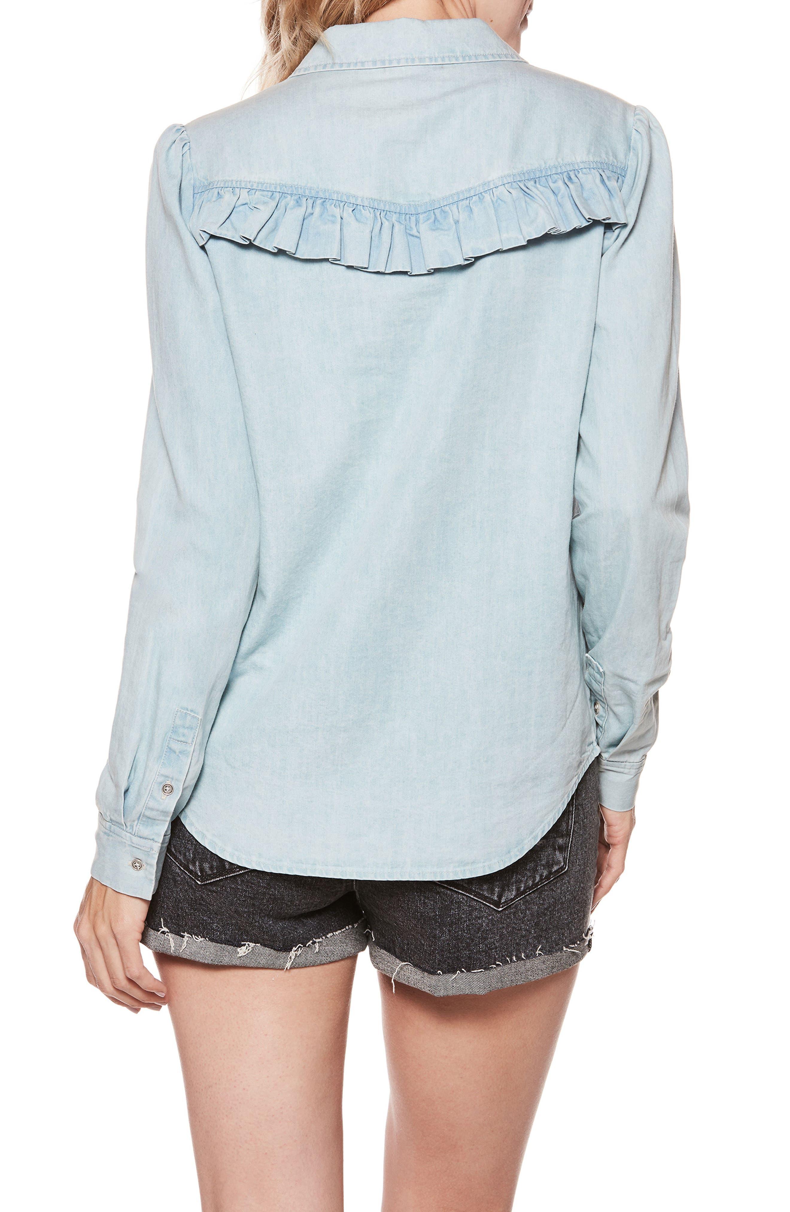Layda Ruffle Western Chambray Shirt,                             Alternate thumbnail 2, color,                             400