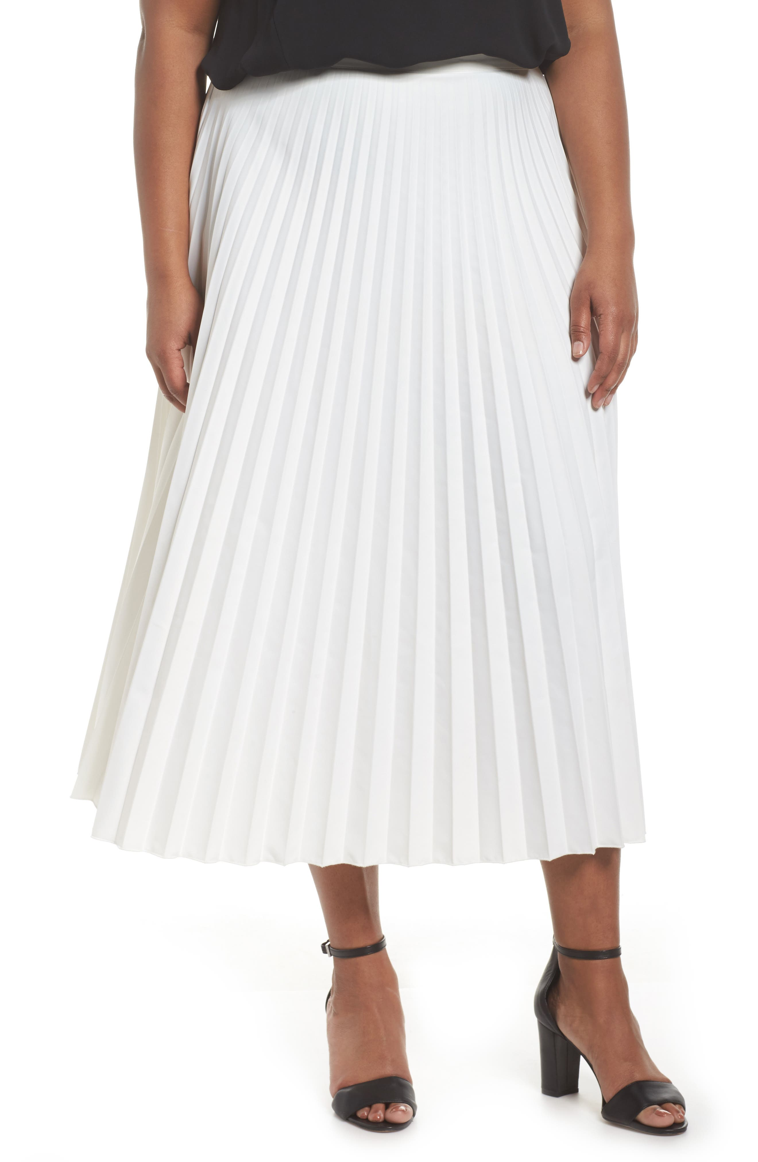 Pleated Long Skirt,                             Main thumbnail 1, color,                             100