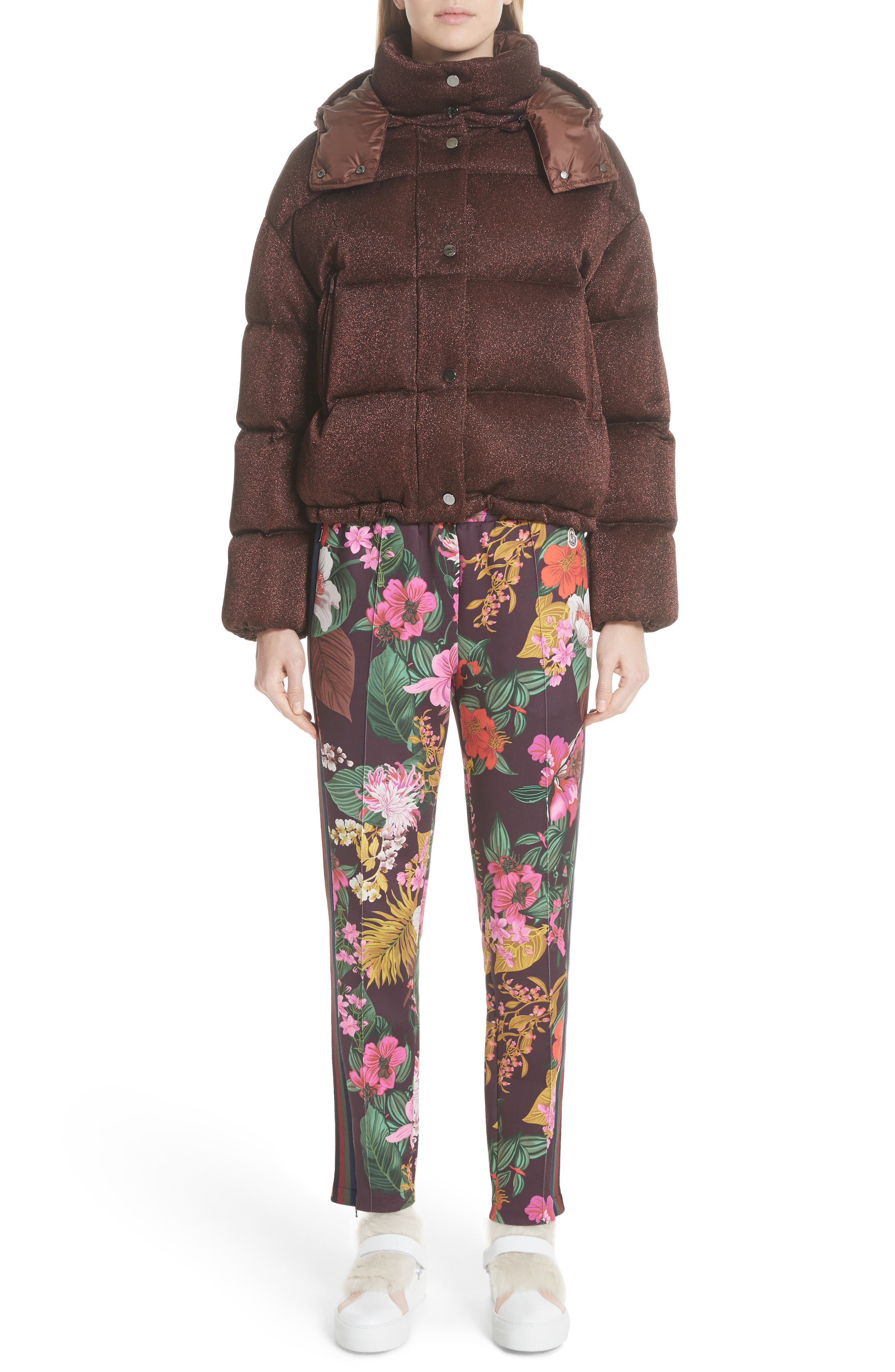 Caille Metallic Quilted Down Jacket,                             Alternate thumbnail 8, color,                             BROWN LUREX