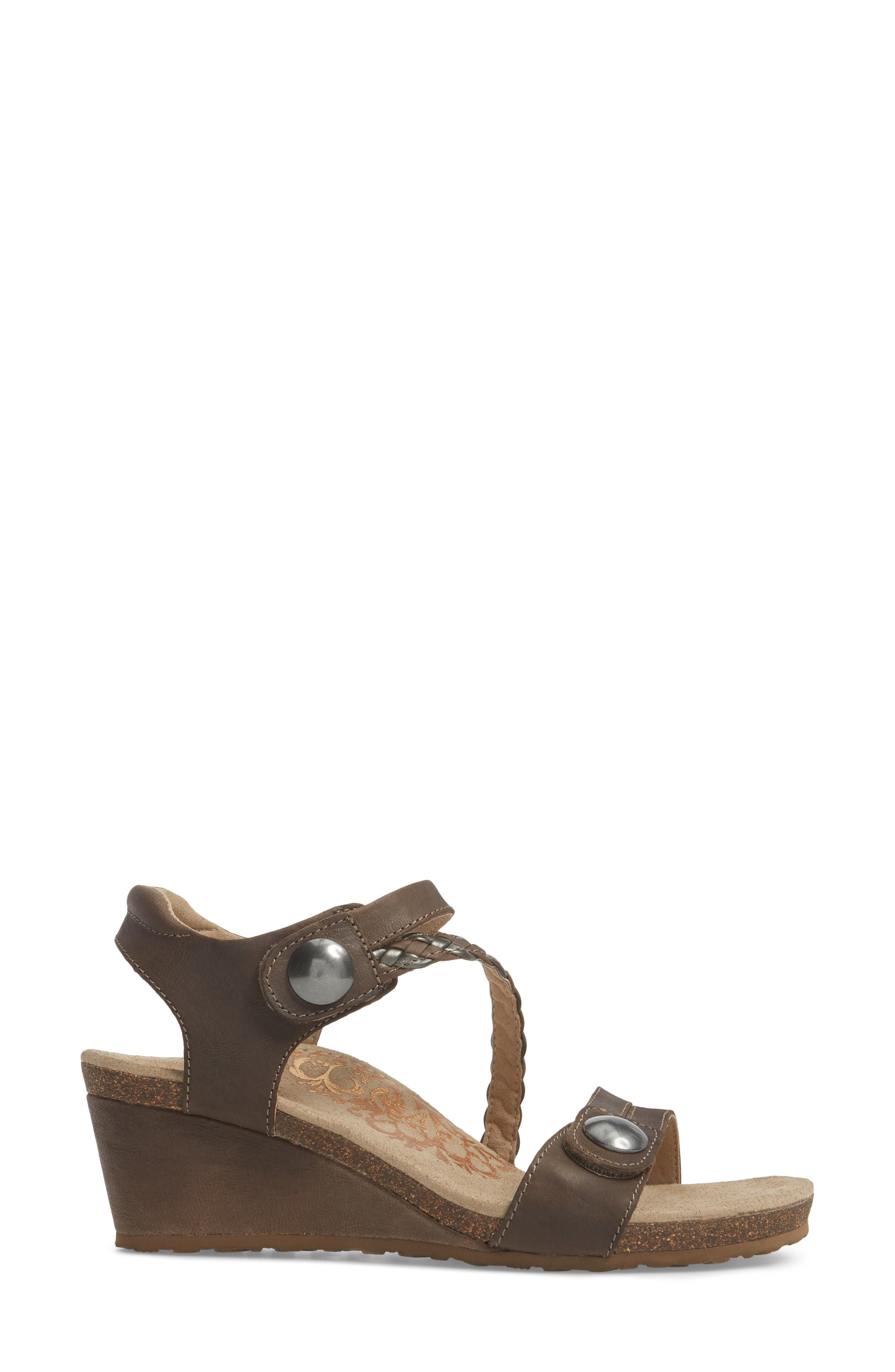 'Naya' Wedge Sandal,                             Alternate thumbnail 3, color,                             STONE LEATHER