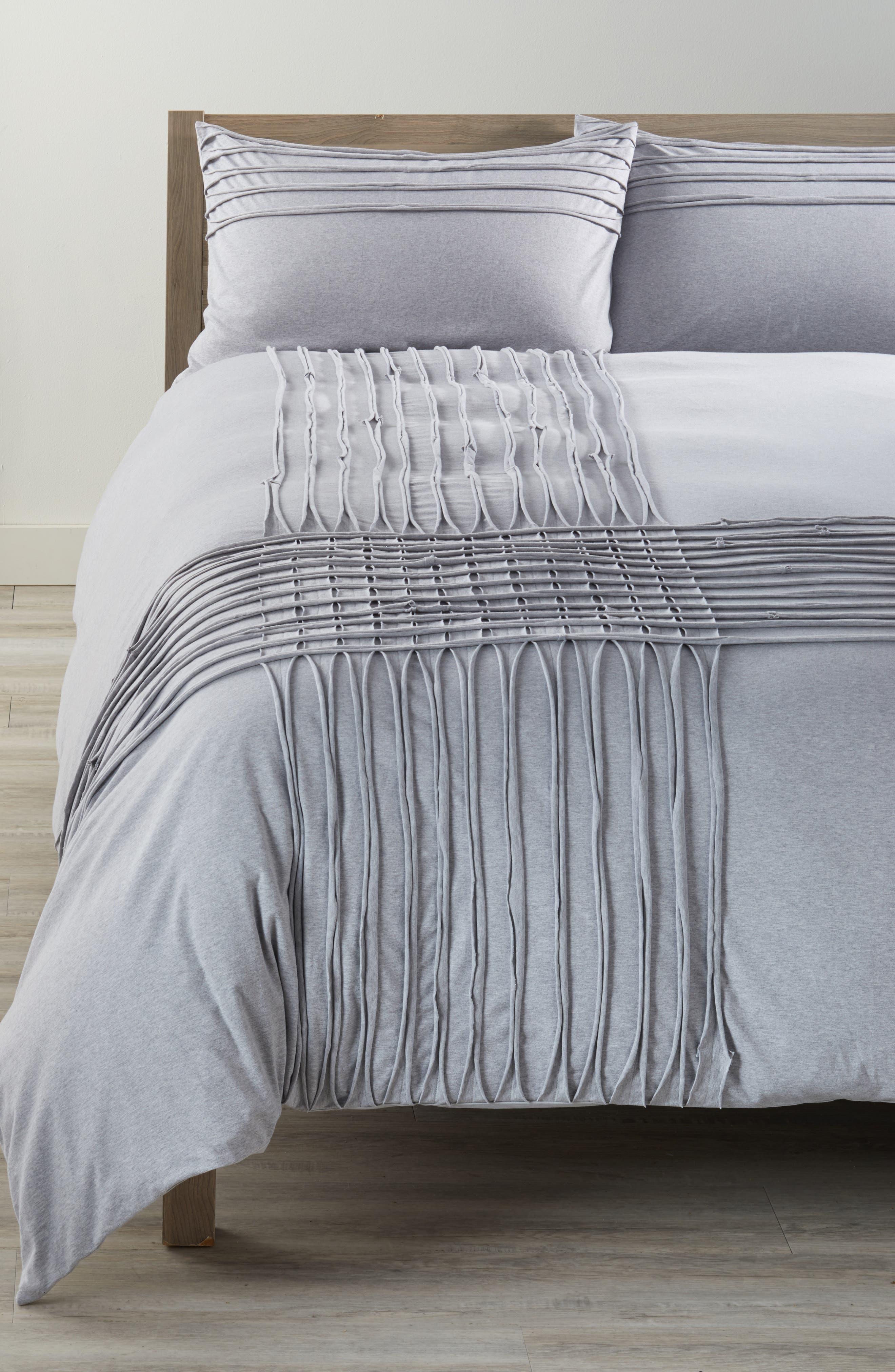 Jersey Grid Duvet Cover,                         Main,                         color, 020