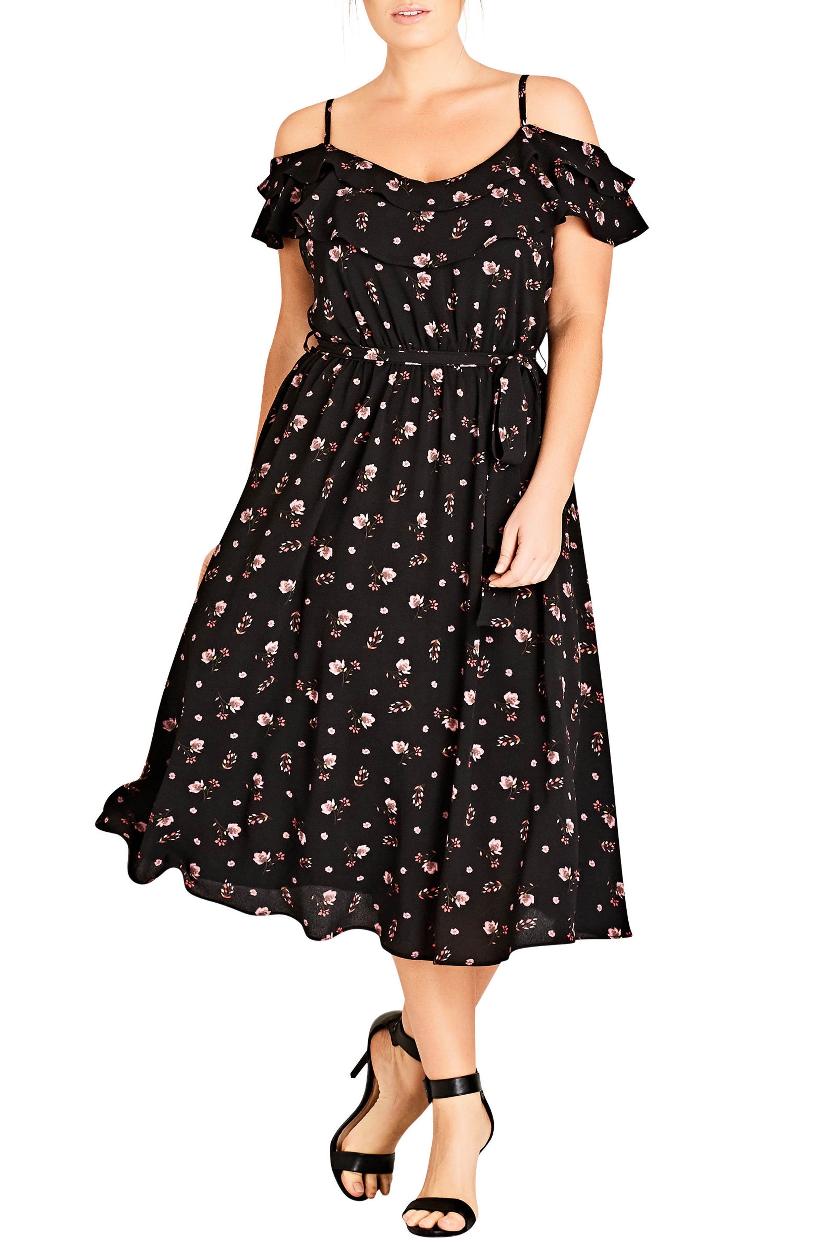 Scattered Floral Dress,                             Main thumbnail 1, color,                             001