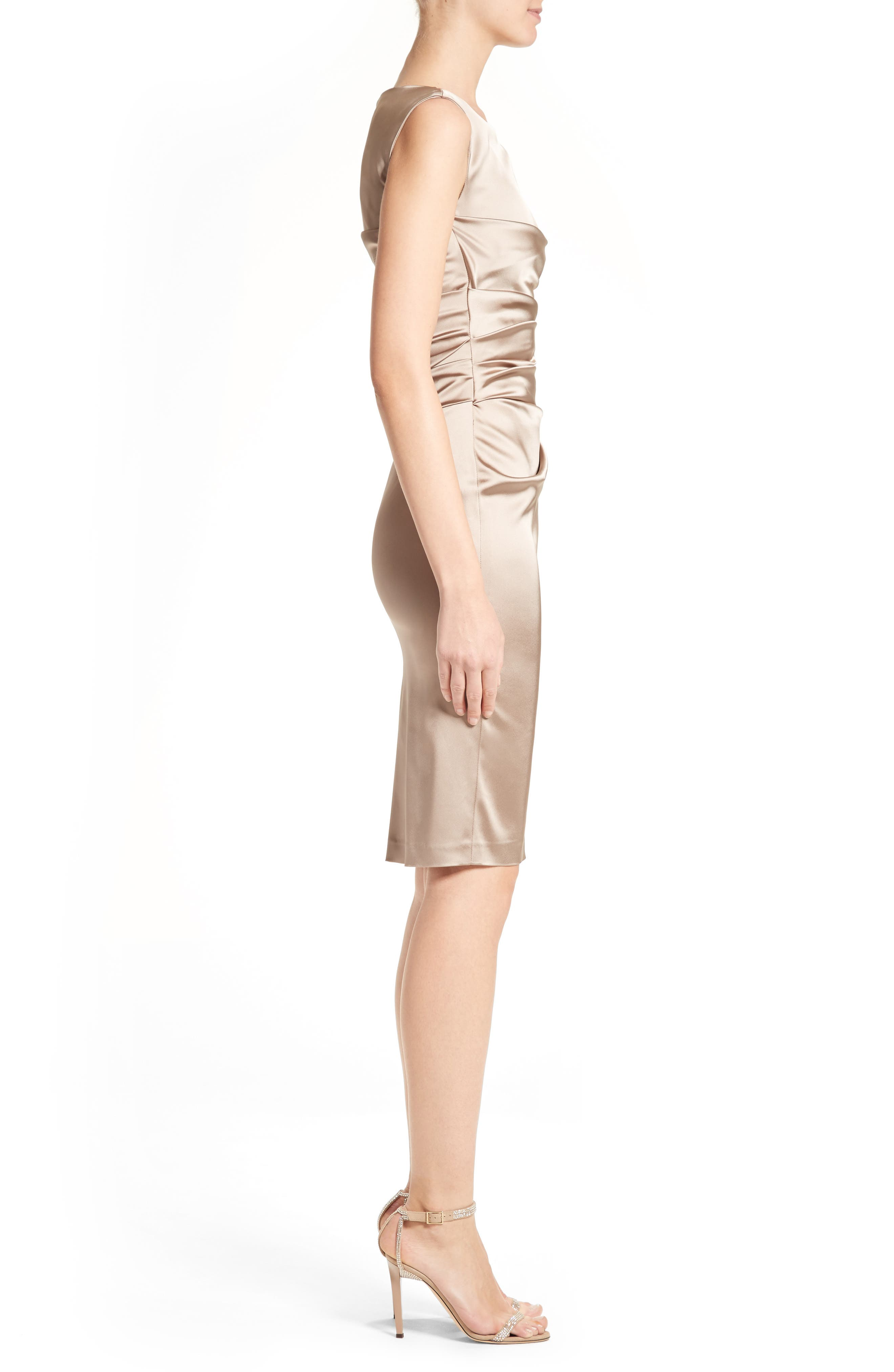 Stretch Satin Sheath Dress,                             Alternate thumbnail 3, color,                             STONE