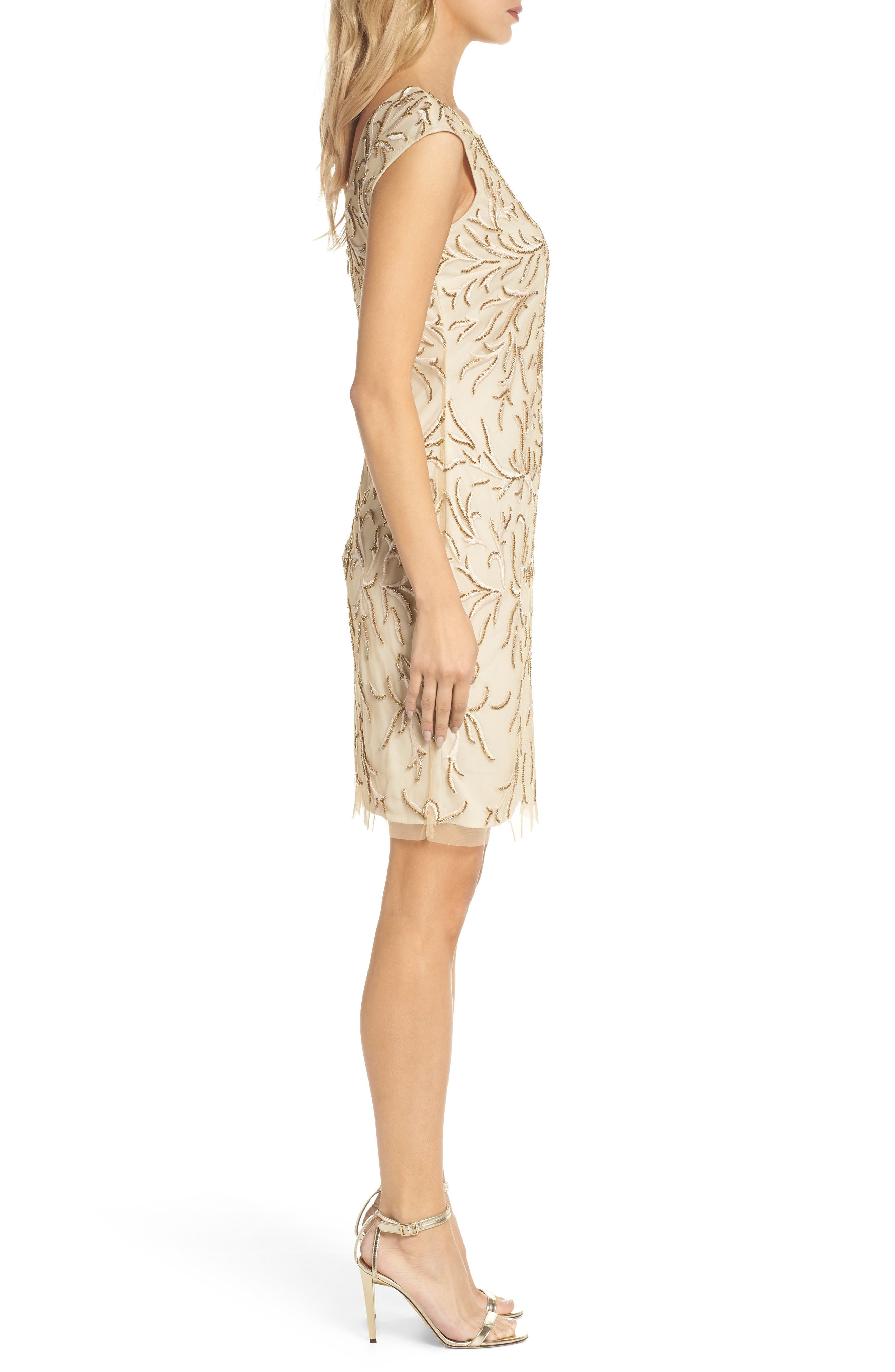 Beaded & Embroidered Cocktail Dress,                             Alternate thumbnail 3, color,                             CHAMPAGNE
