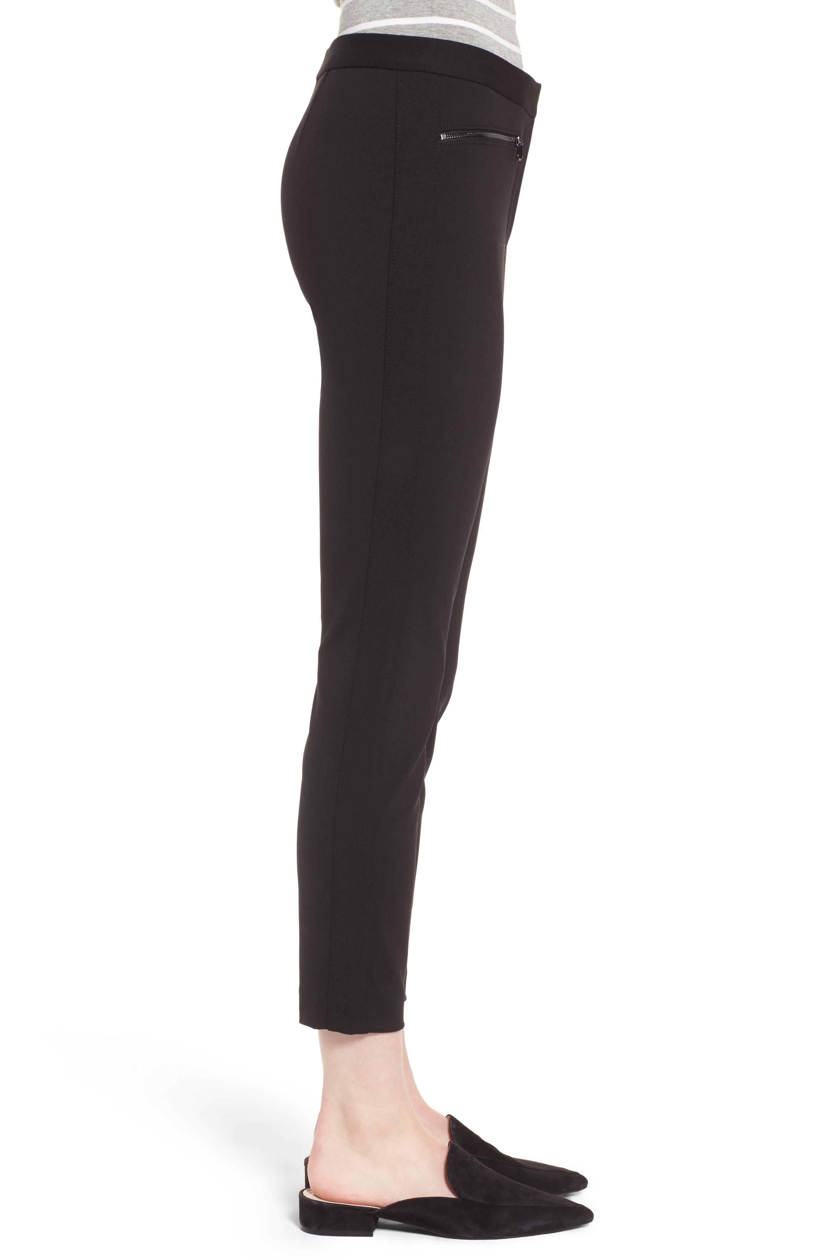 Exposed Zip Knit Pants,                             Alternate thumbnail 3, color,                             001
