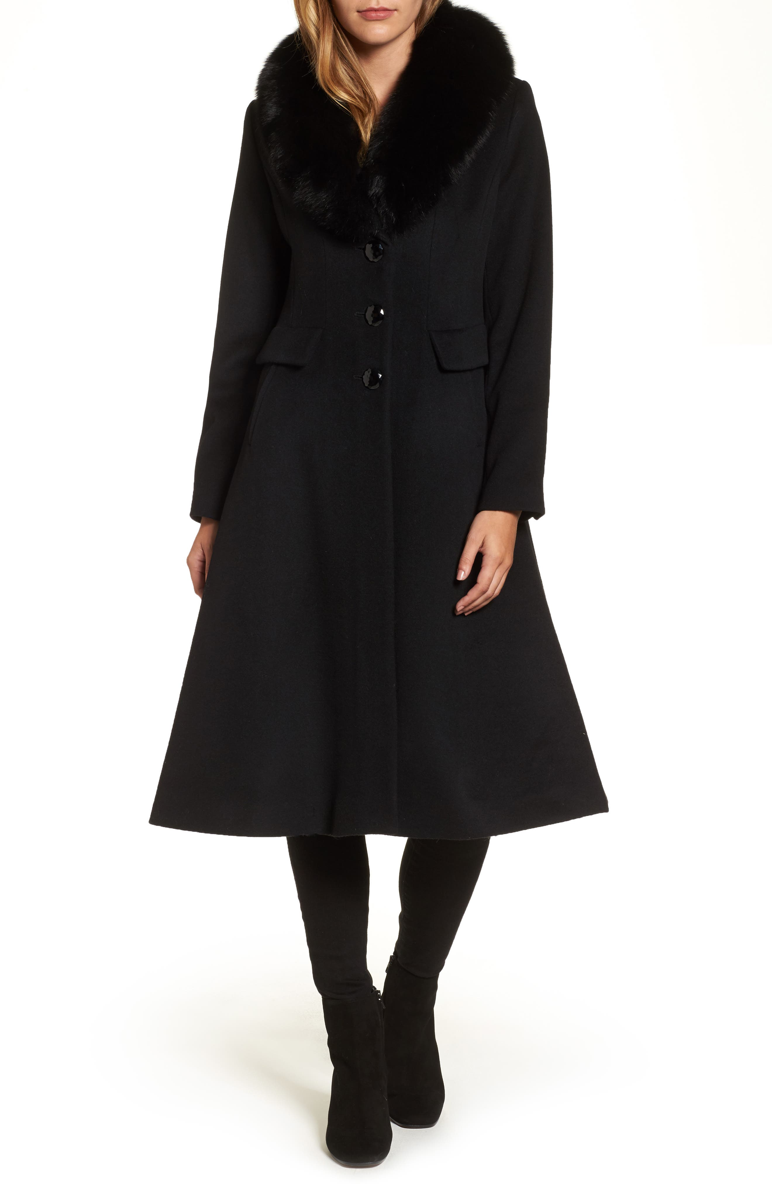 Couture Long Wool Blend Coat with Genuine Fox Fur Collar,                         Main,                         color, 001