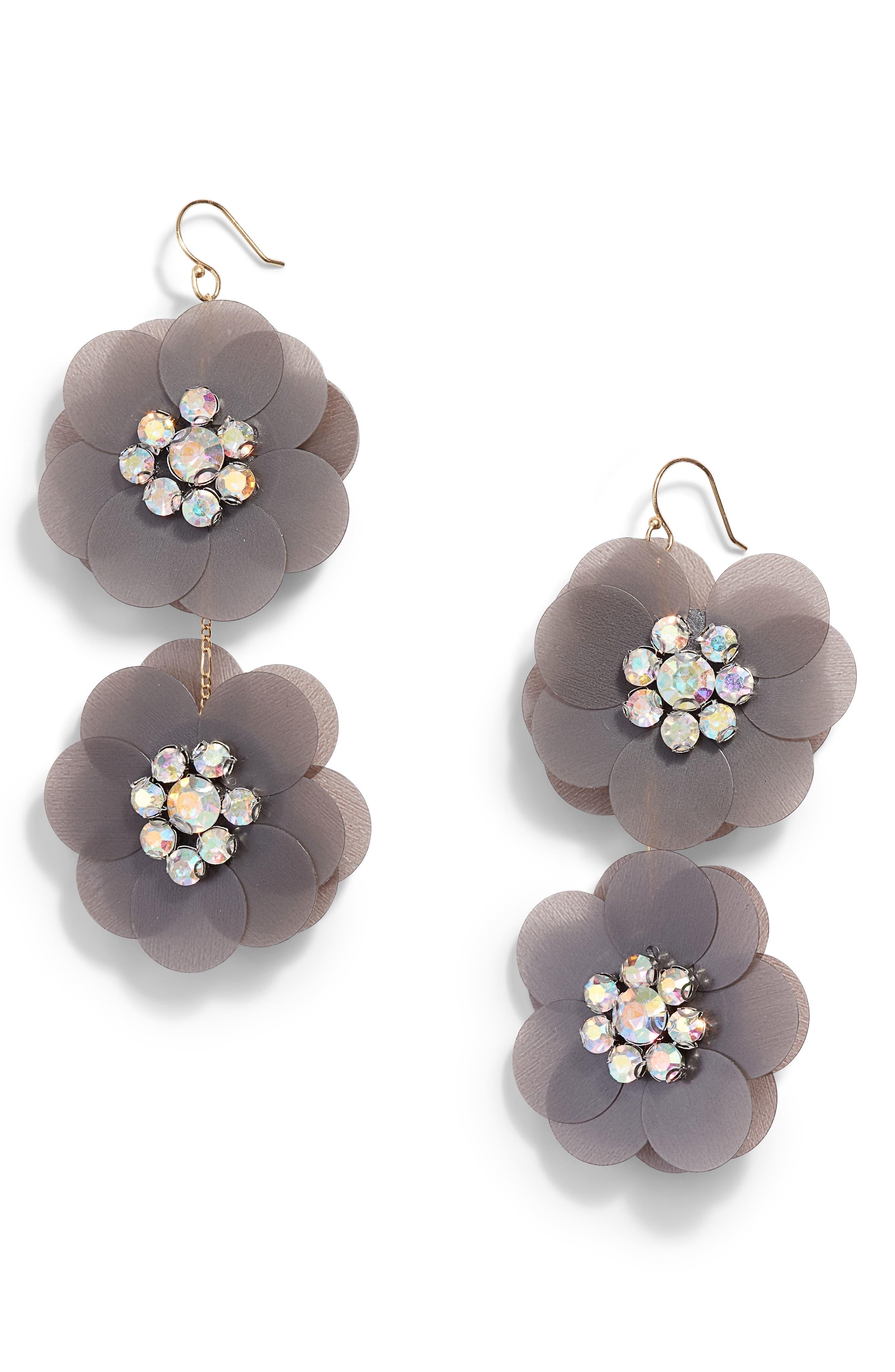 SEREFINA Sequin Flowers Drop Earrings in Grey