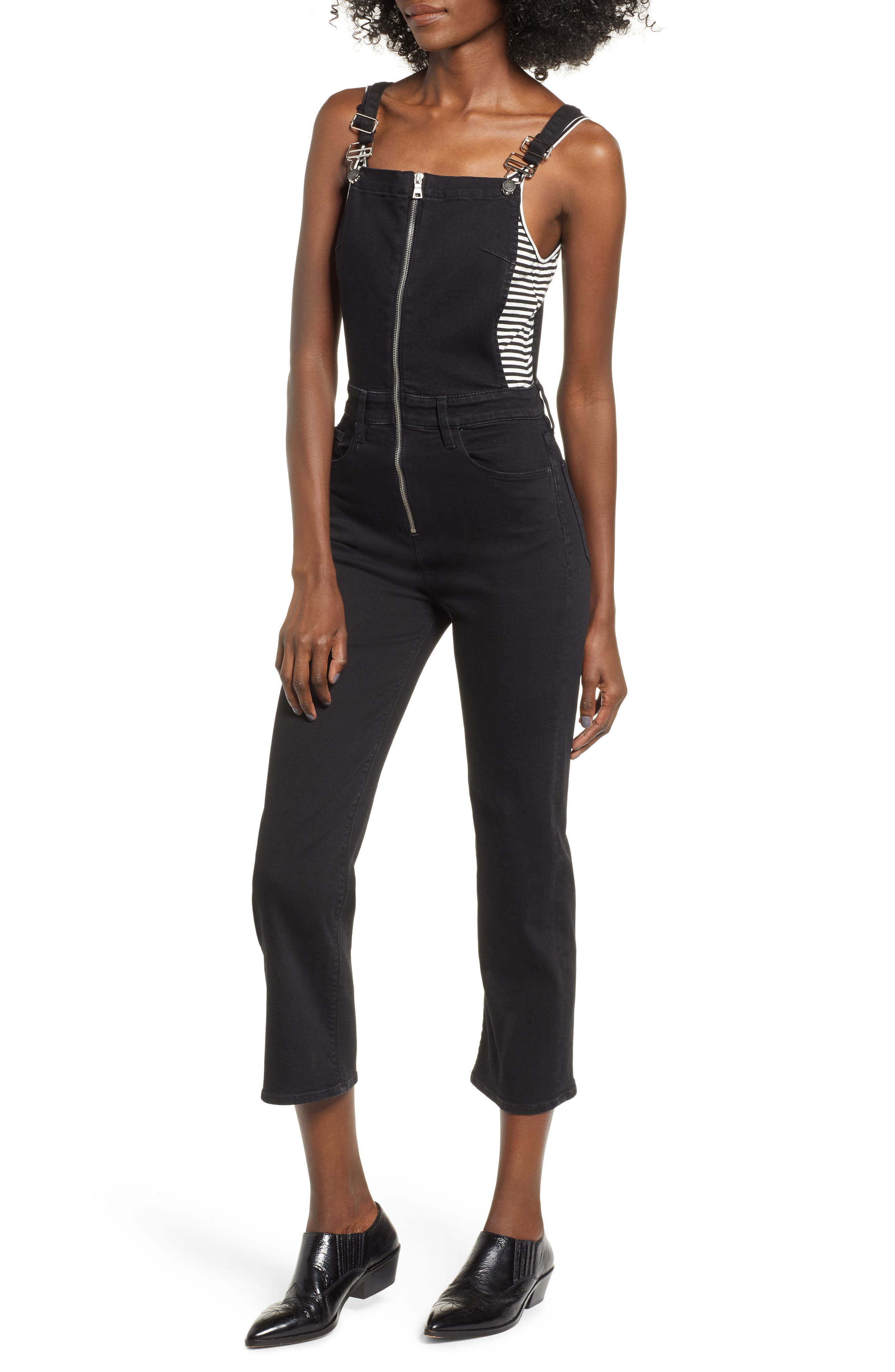 Avalon Zip-Front Cropped Coverall Denim Jumpsuit in Swoon