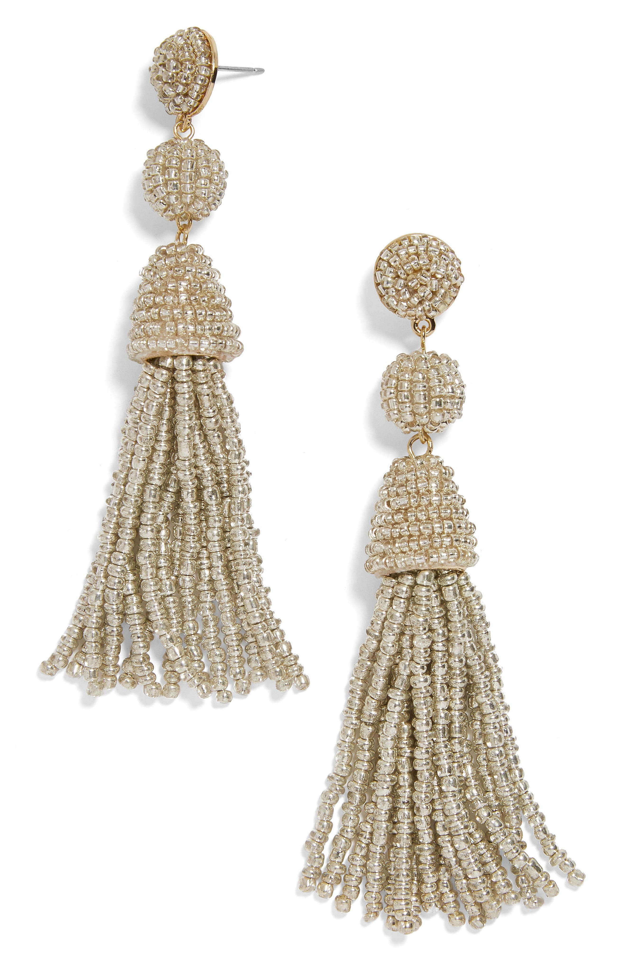 Granita Beaded Tassel Earrings,                             Main thumbnail 1, color,                             SILVER