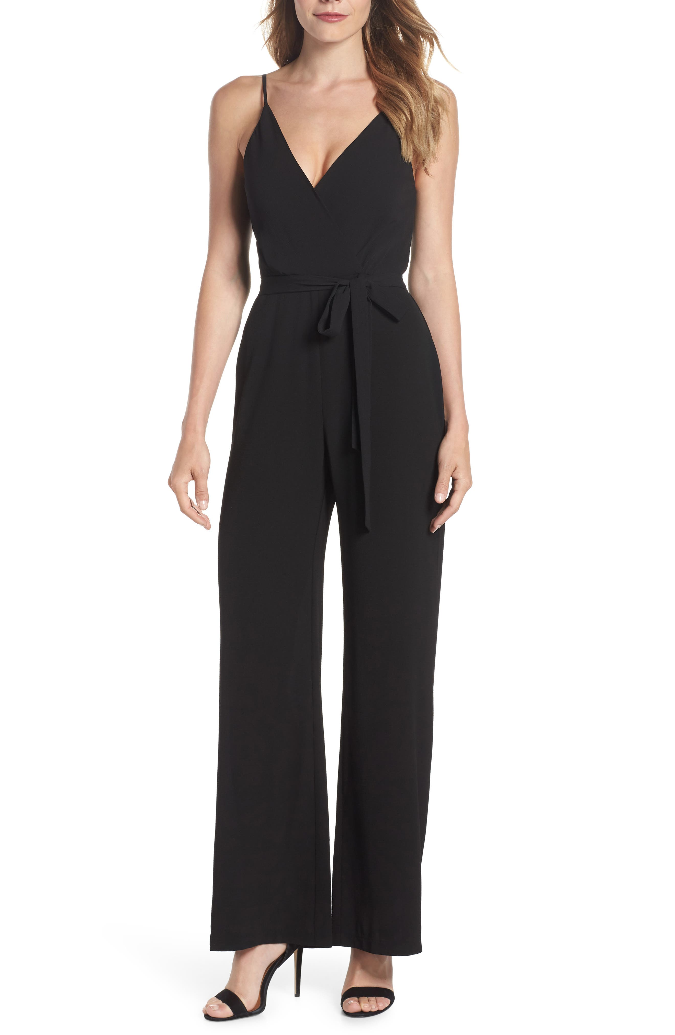 Belted Cami Jumpsuit,                             Main thumbnail 1, color,                             BLACK