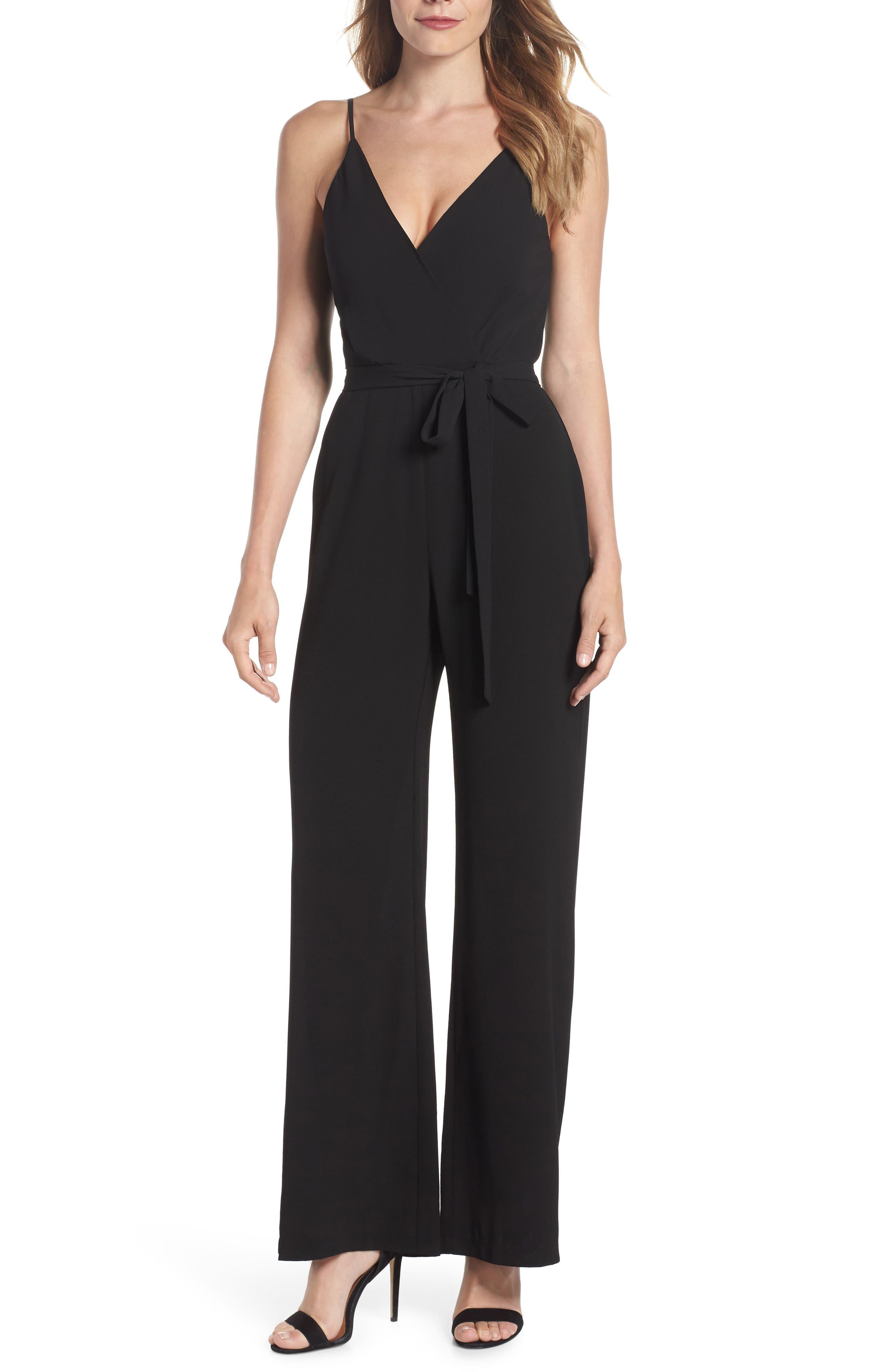 Belted Cami Jumpsuit,                         Main,                         color, BLACK