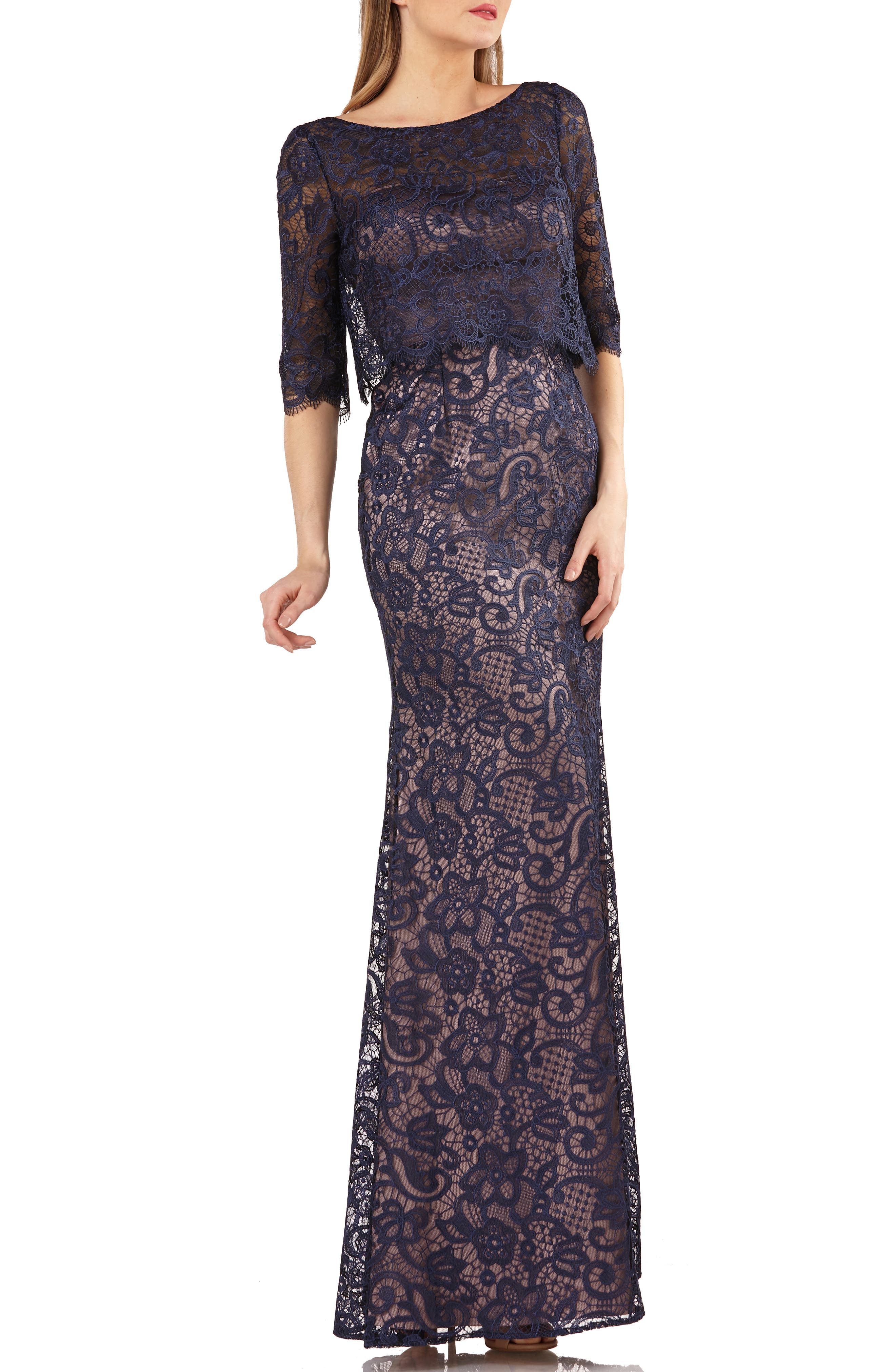Js Collection Embroidered Lace Scallop Trim Evening Dress, Blue