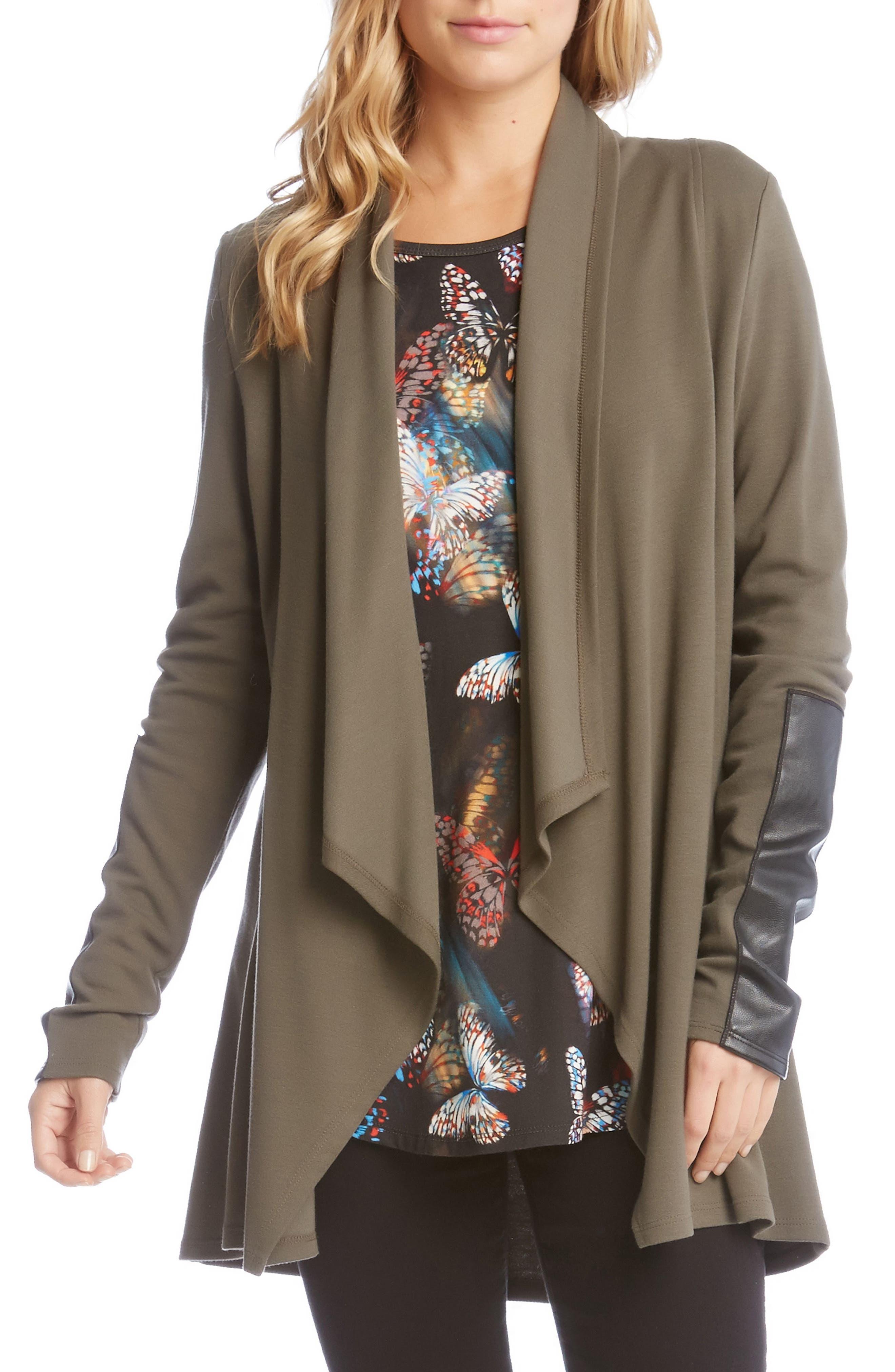 Faux Leather Patch Fleece Knit Jacket,                             Main thumbnail 1, color,                             312