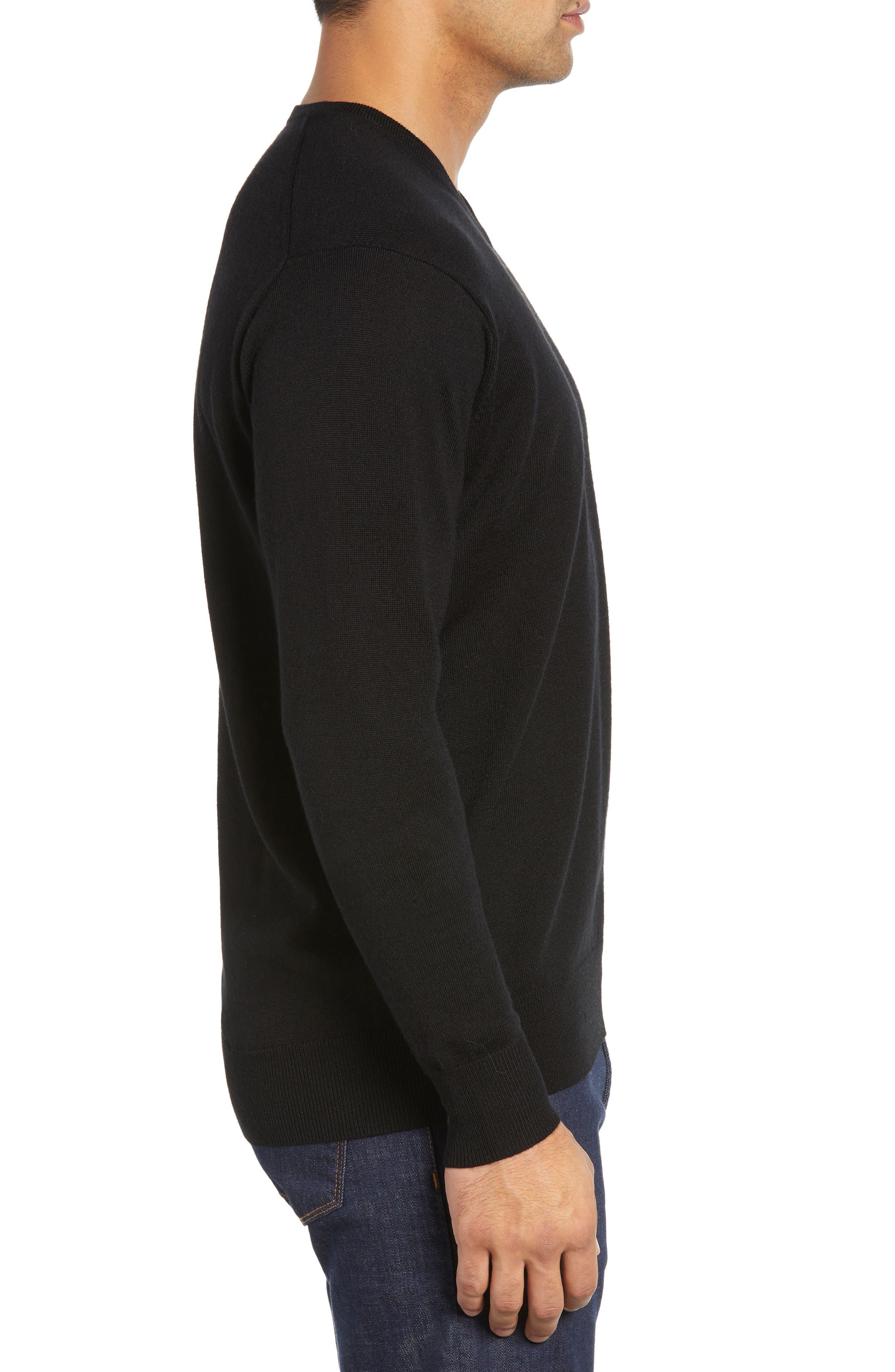 Wool & Silk V-Neck Sweater,                             Alternate thumbnail 3, color,                             001