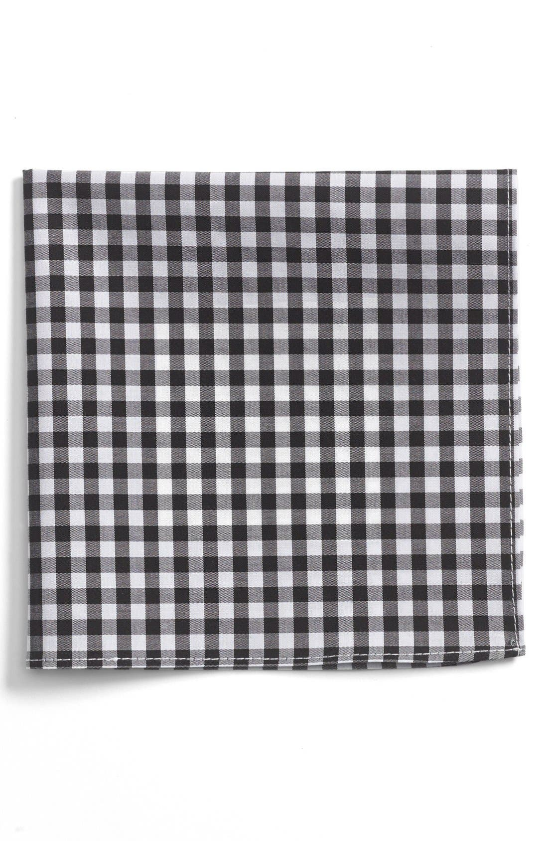 Gingham Cotton Pocket Square,                         Main,                         color, 001