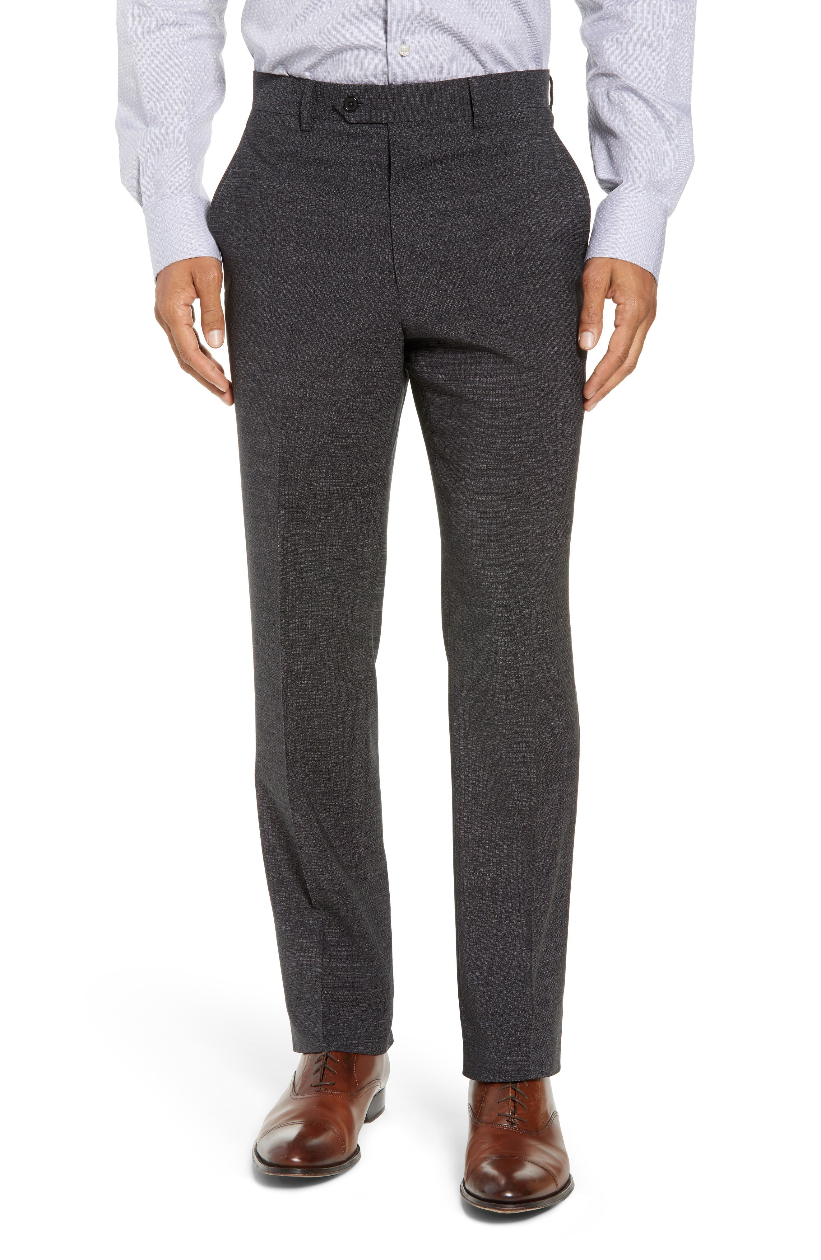 Flat Front Solid Wool Trousers,                             Main thumbnail 1, color,                             020