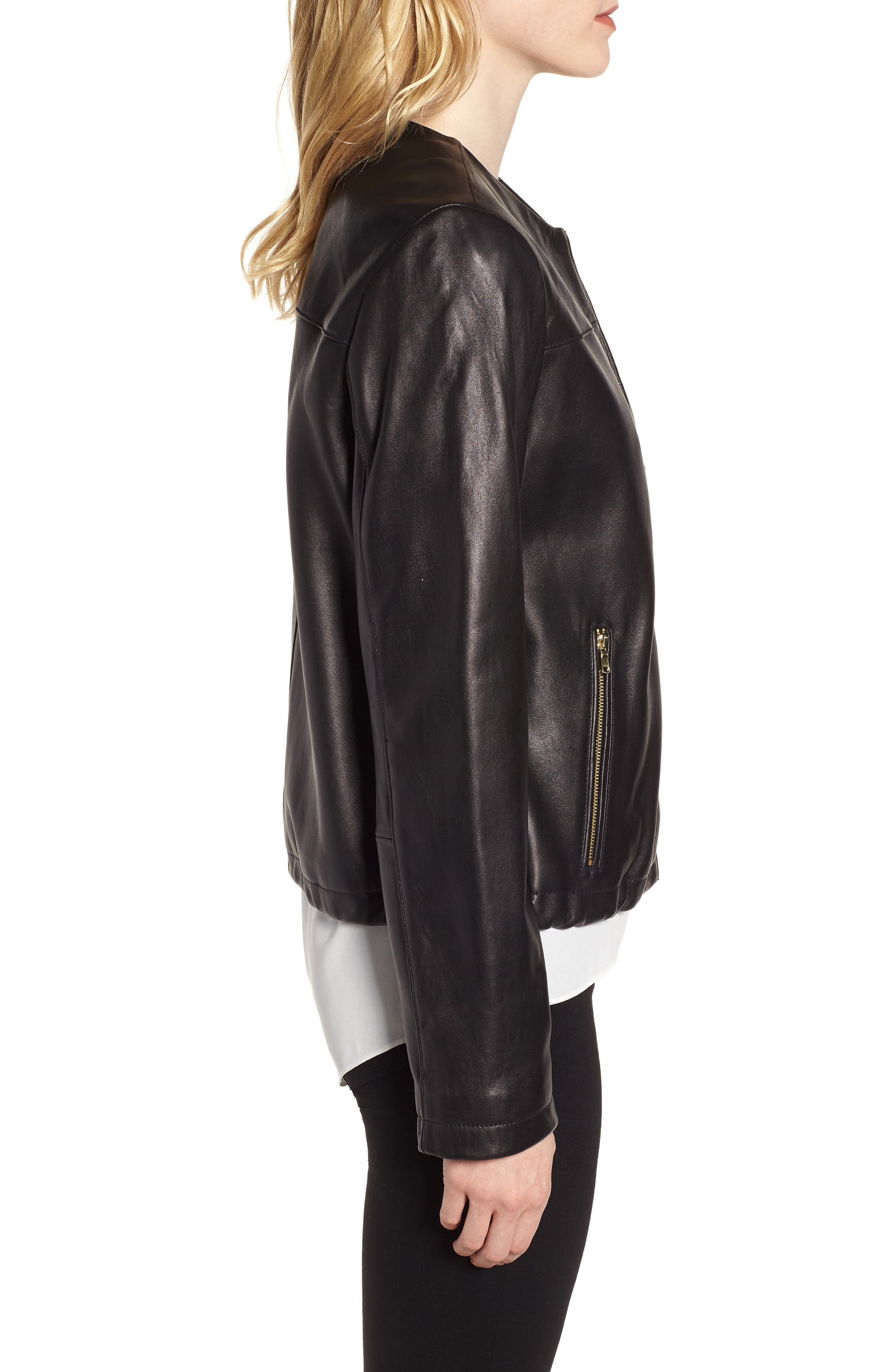 Lambskin Leather Jacket,                             Alternate thumbnail 3, color,                             001