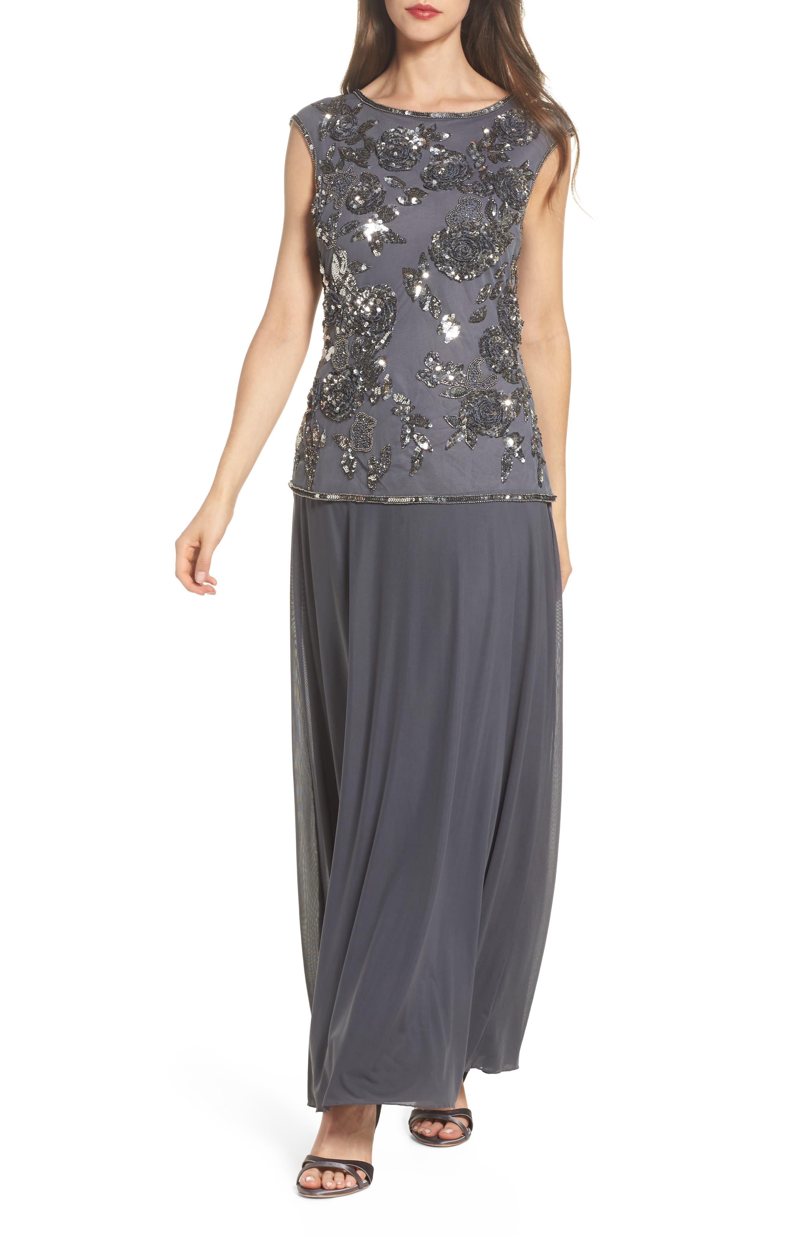 Embellished Long Dress,                             Main thumbnail 1, color,                             020