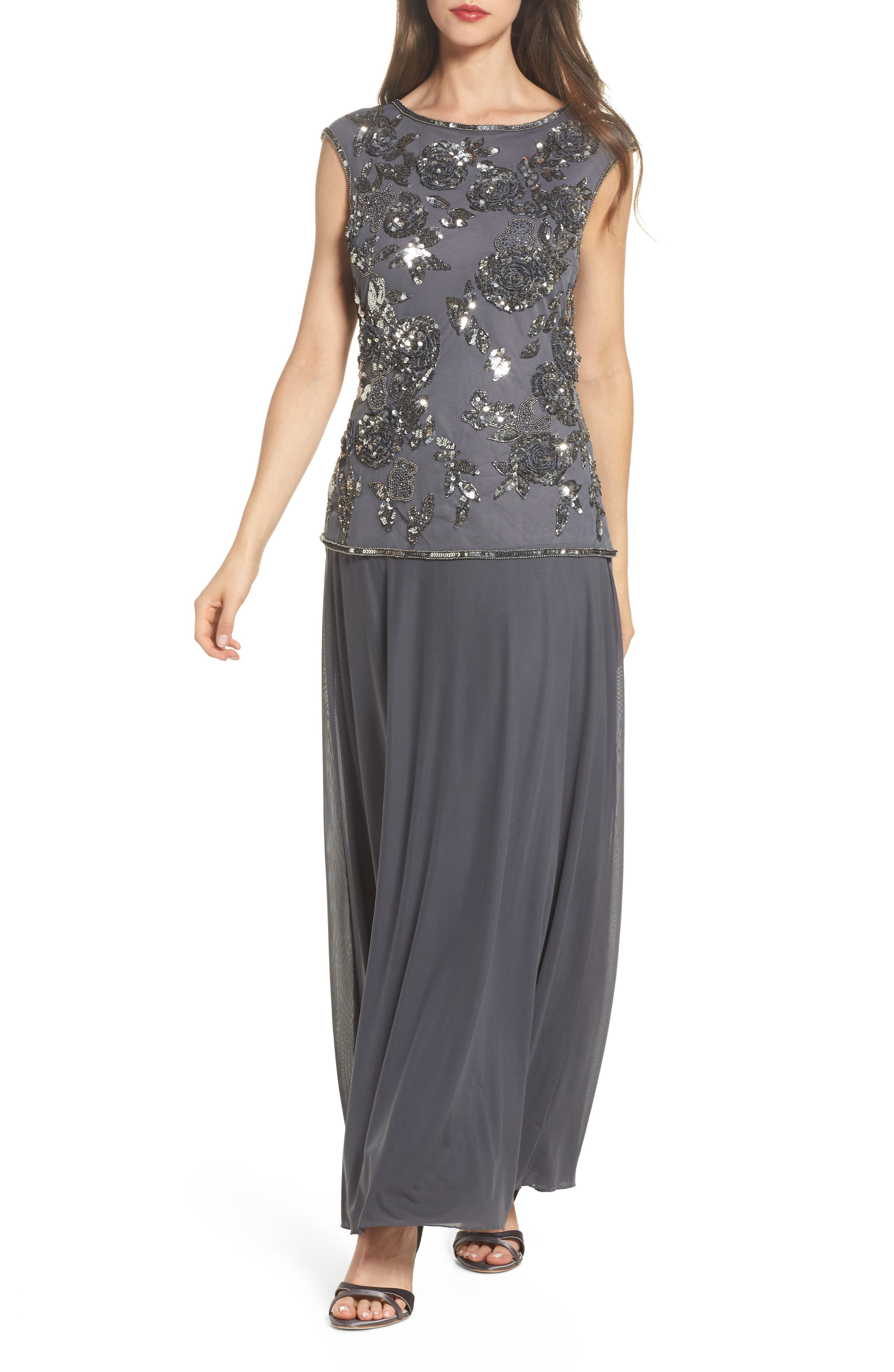 Embellished Long Dress,                         Main,                         color, 020